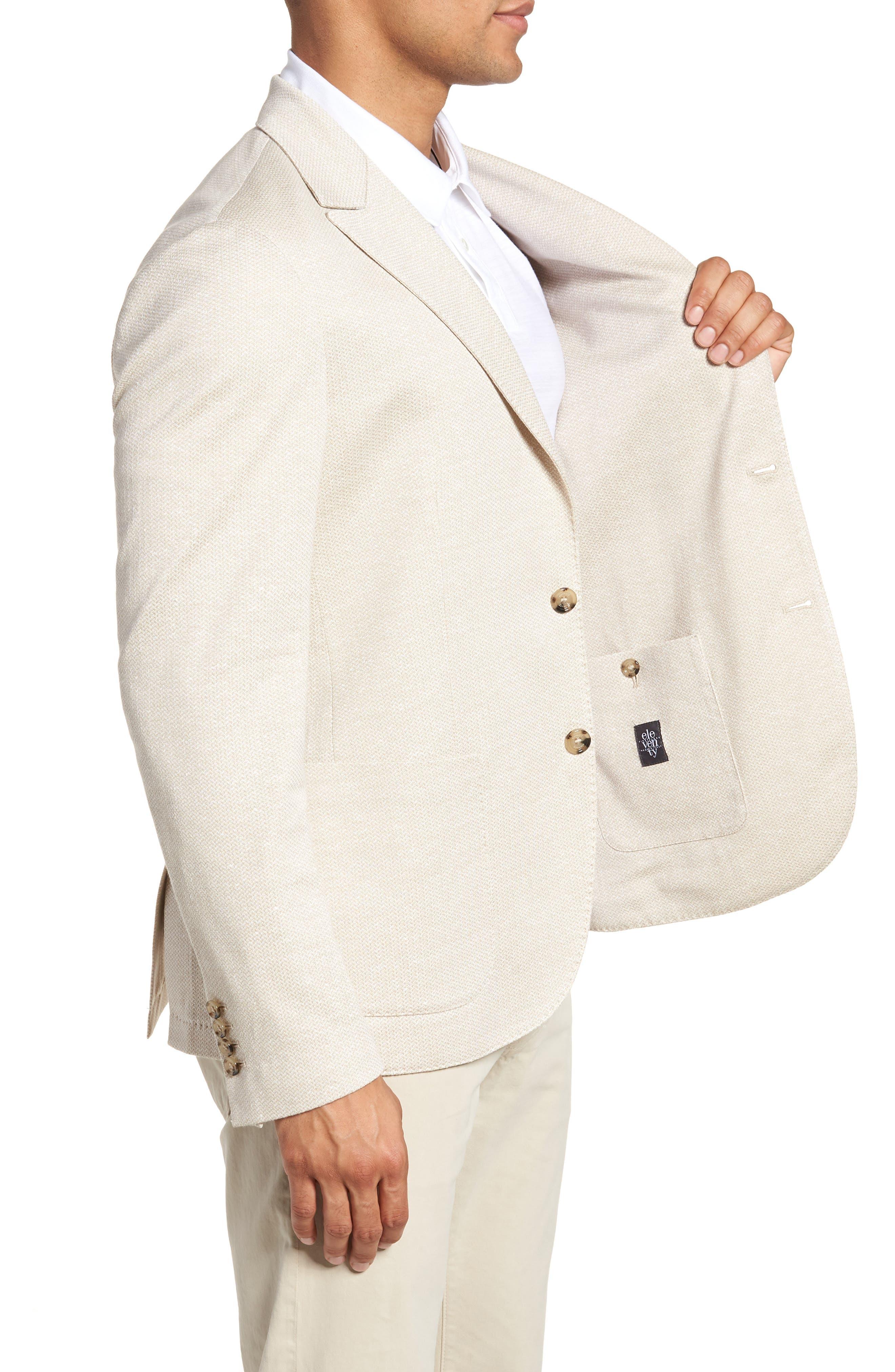 Jersey Trim Fit Linen & Cotton Blazer,                             Alternate thumbnail 3, color,                             Sand