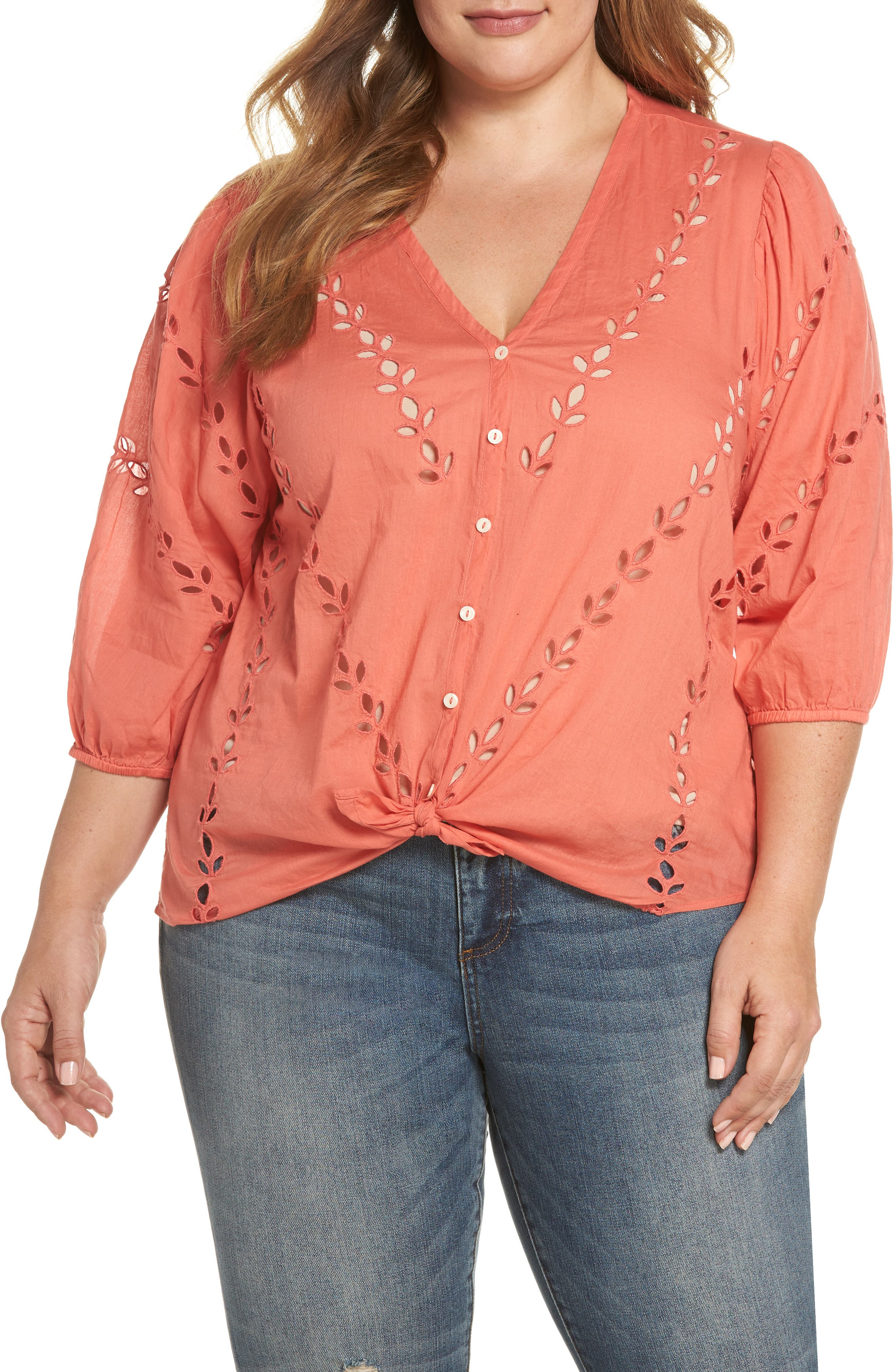 Eyelet Tie Hem Peasant Blouse,                         Main,                         color, Spiced Coral