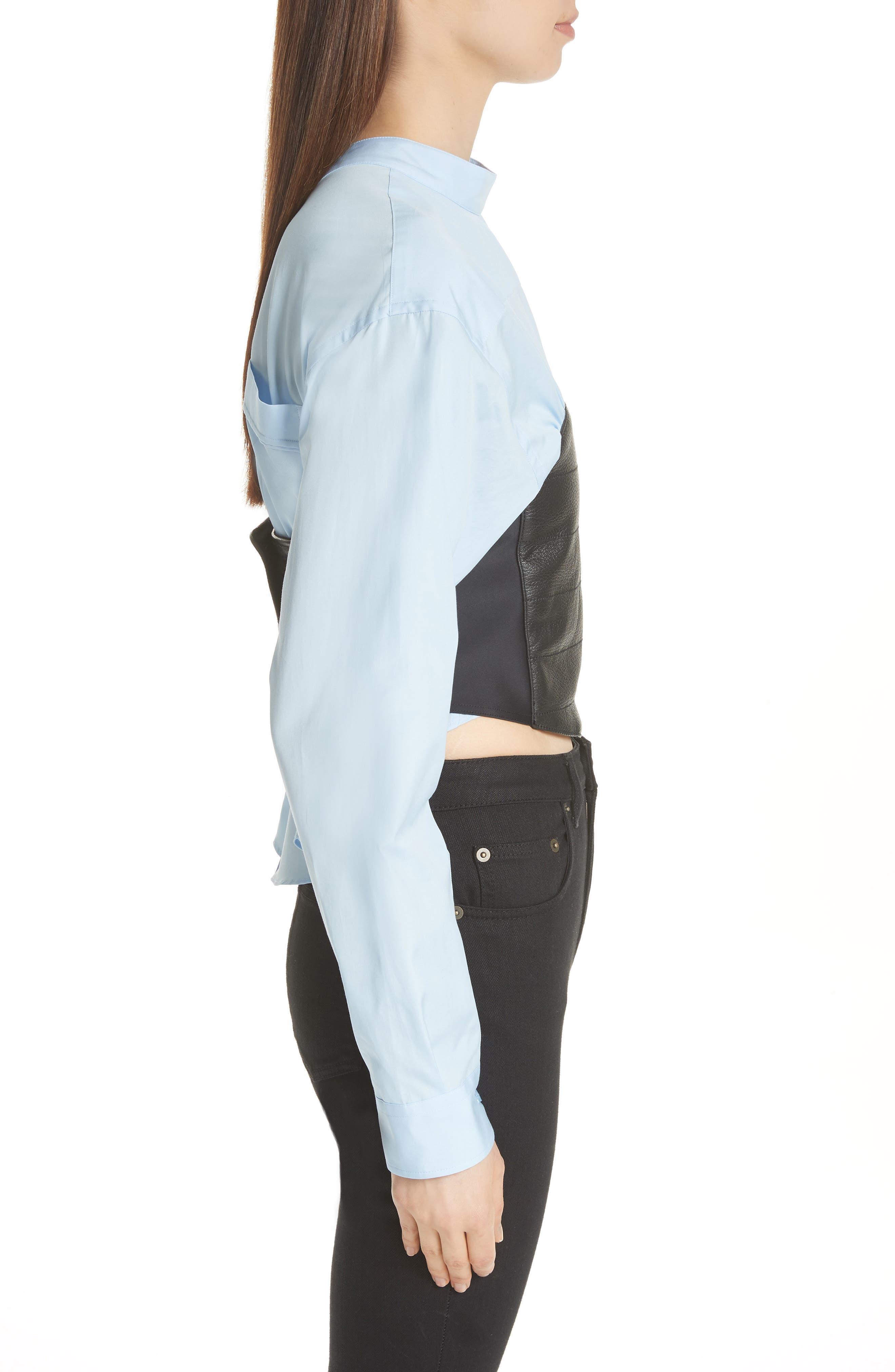 Bustier Shirt,                             Alternate thumbnail 3, color,                             Blue/ Black Bustier