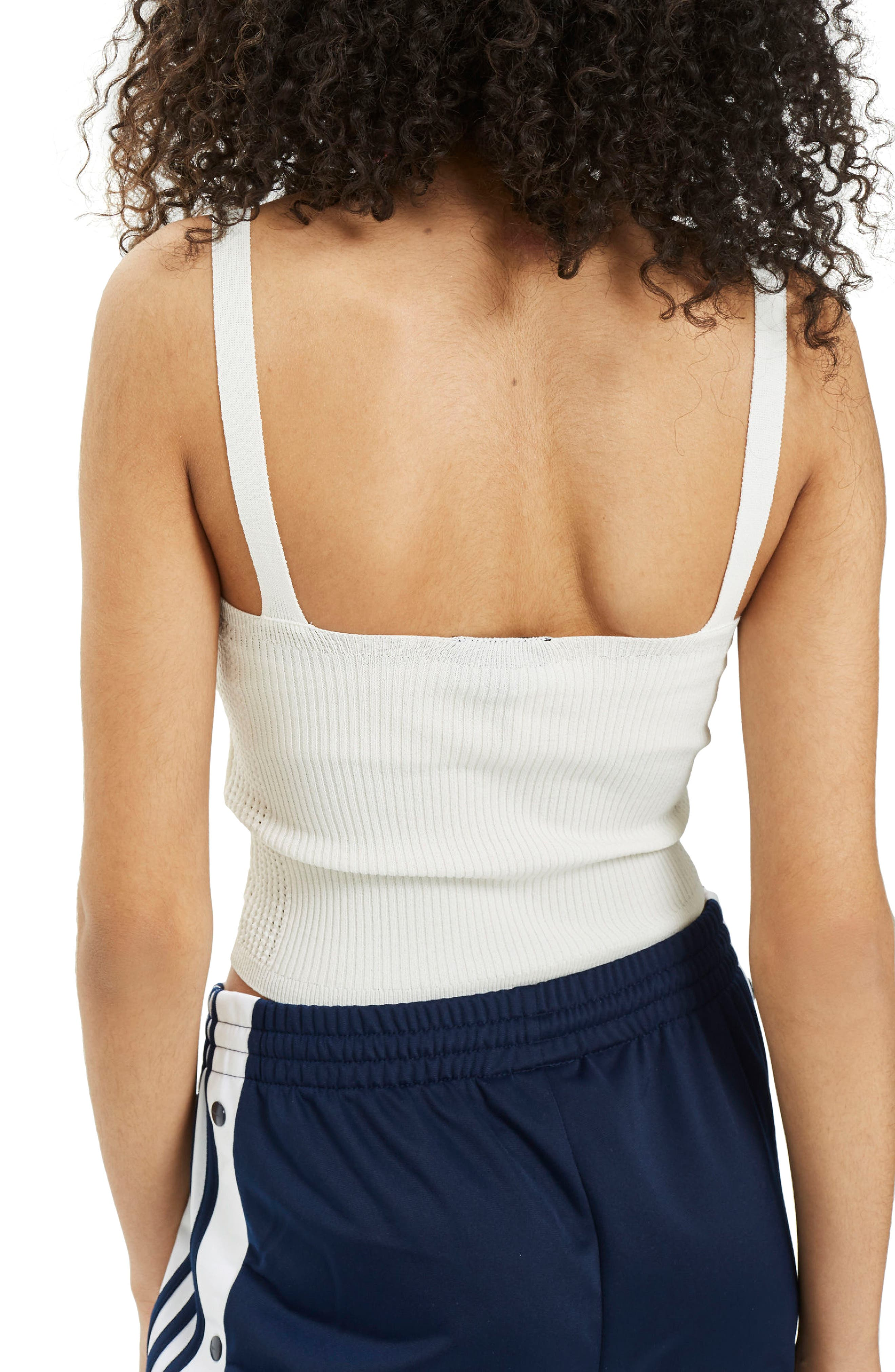 Scoop Neck Strappy Knit Camisole,                             Alternate thumbnail 3, color,                             Cream