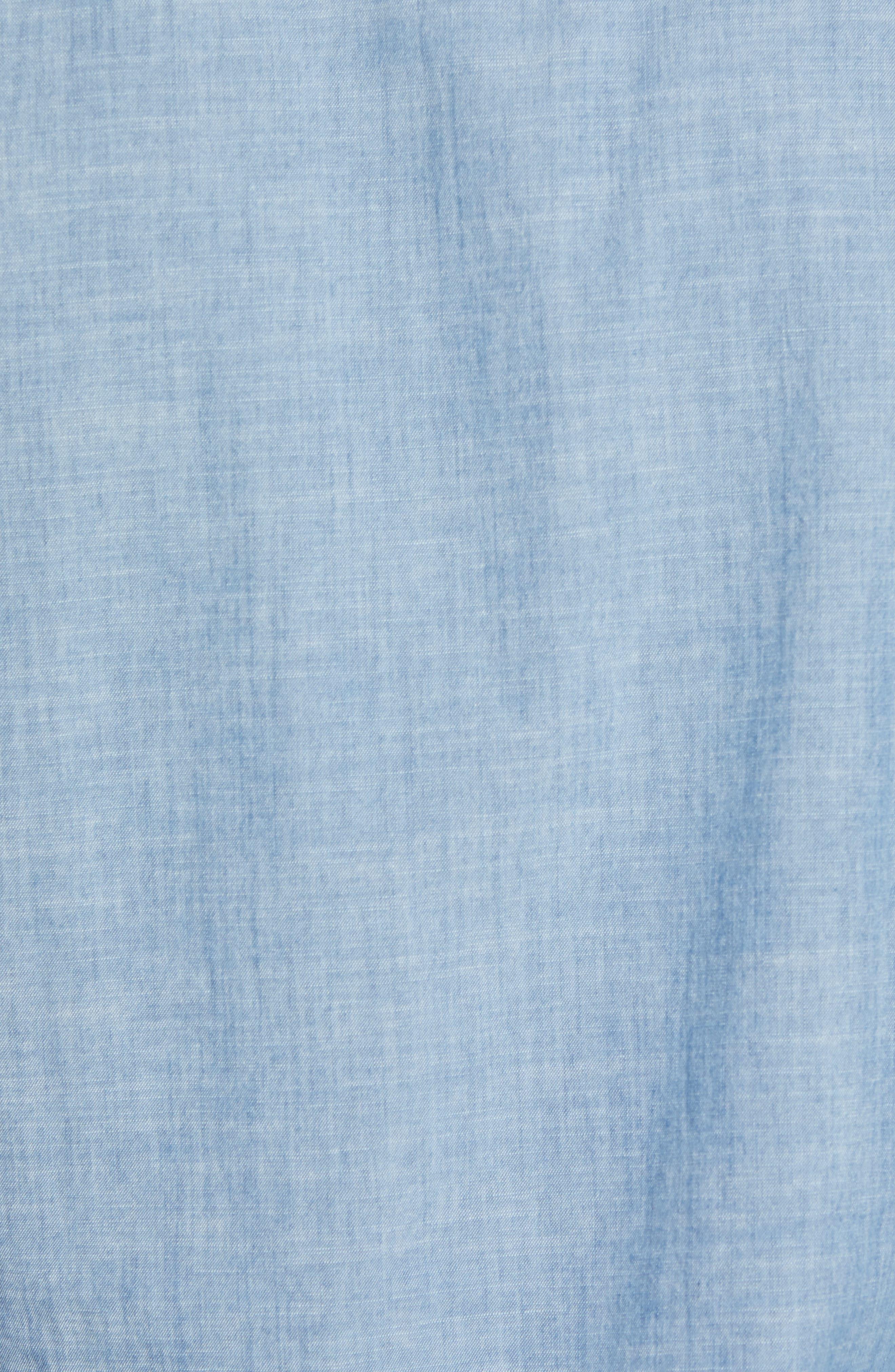Ancroft Slim Fit Chambray Sport Shirt,                             Alternate thumbnail 5, color,                             Blue