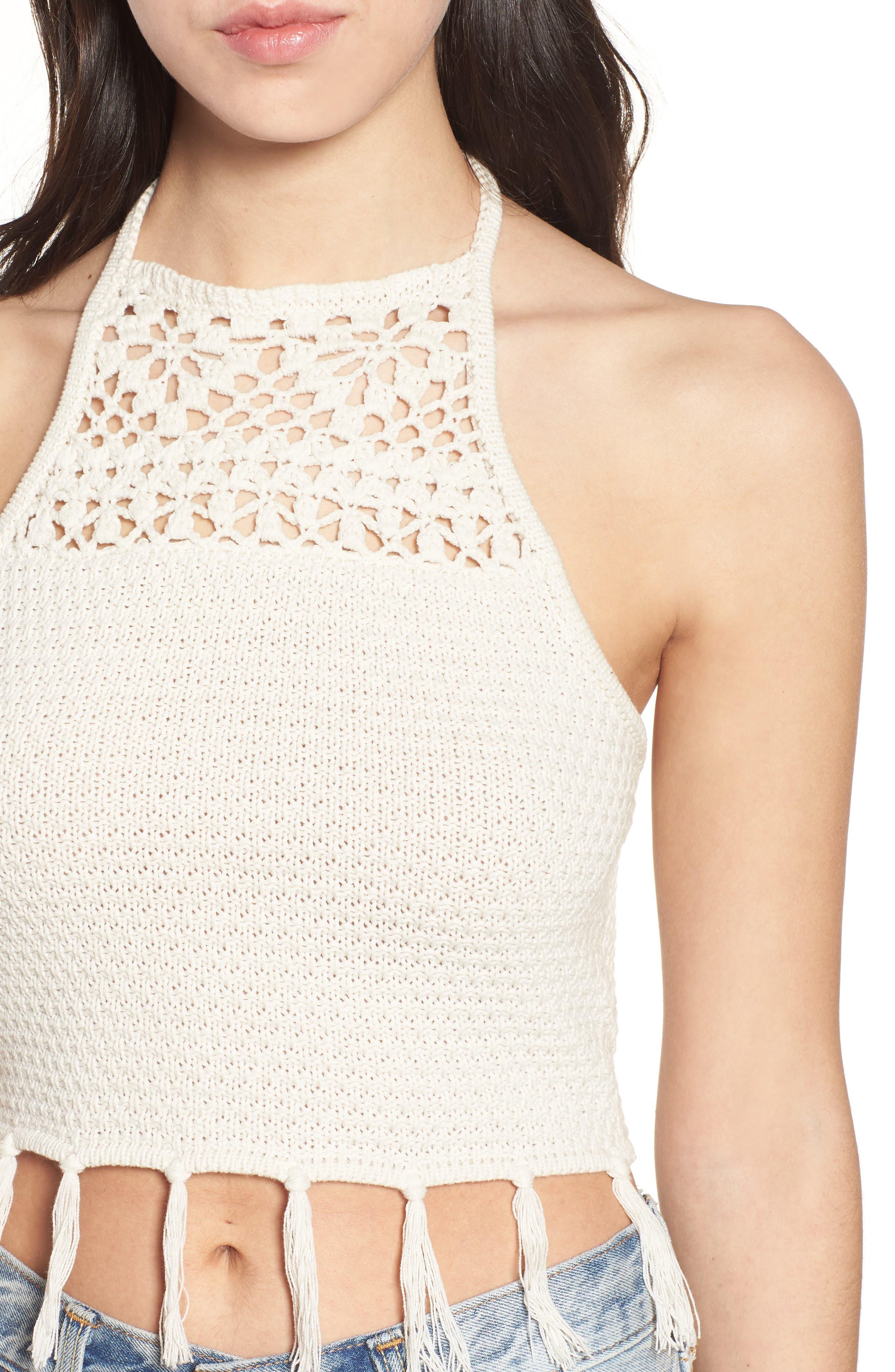 Fringe Sweater Halter Top,                             Alternate thumbnail 4, color,                             Stone Oatmeal Marl