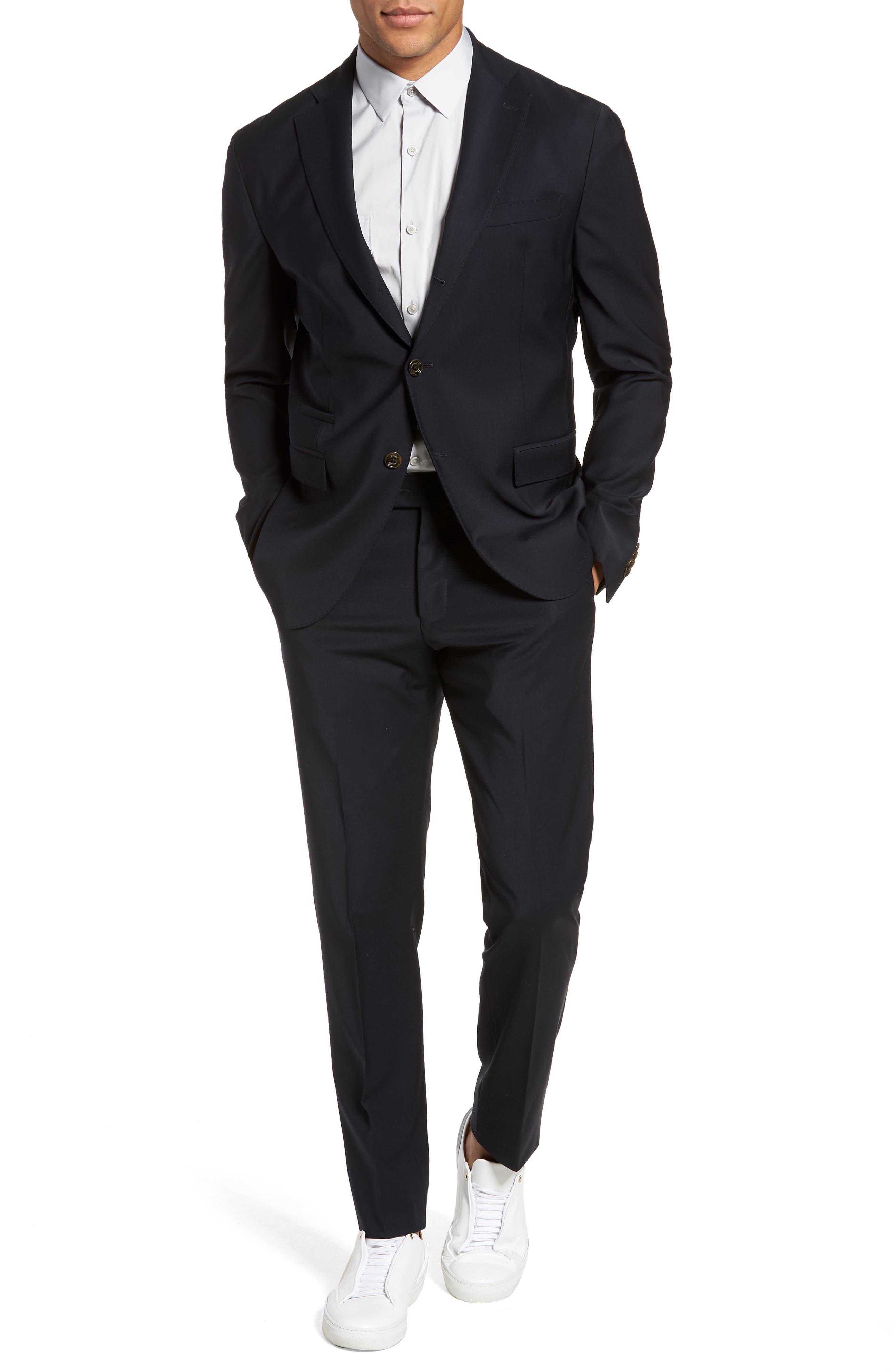 Eleventy Trim Fit Stretch Wool Suit