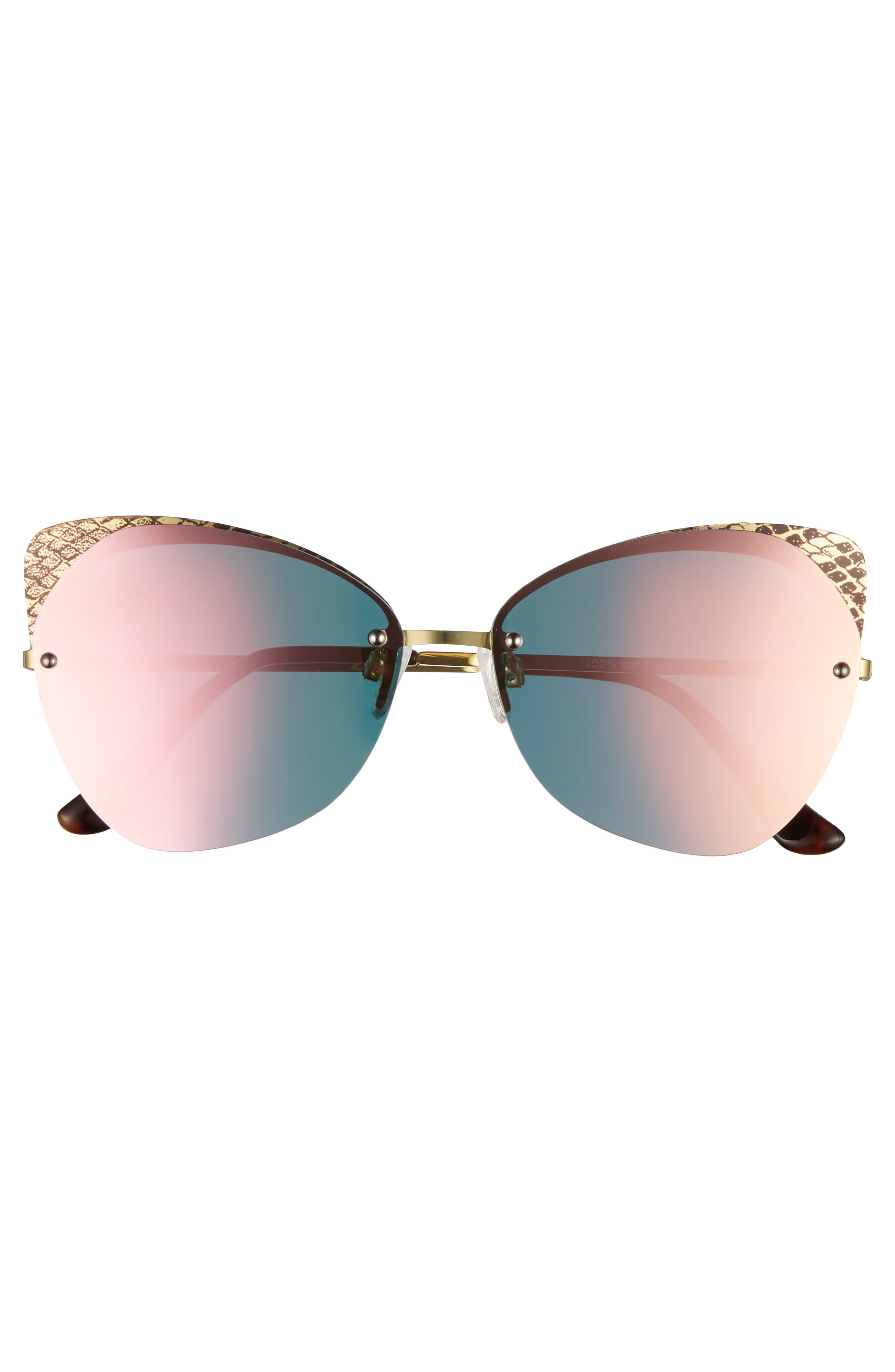 59mm Snakeskin Accent Rimless Cat Eye Sunglasses,                             Alternate thumbnail 3, color,                             Snake Pink
