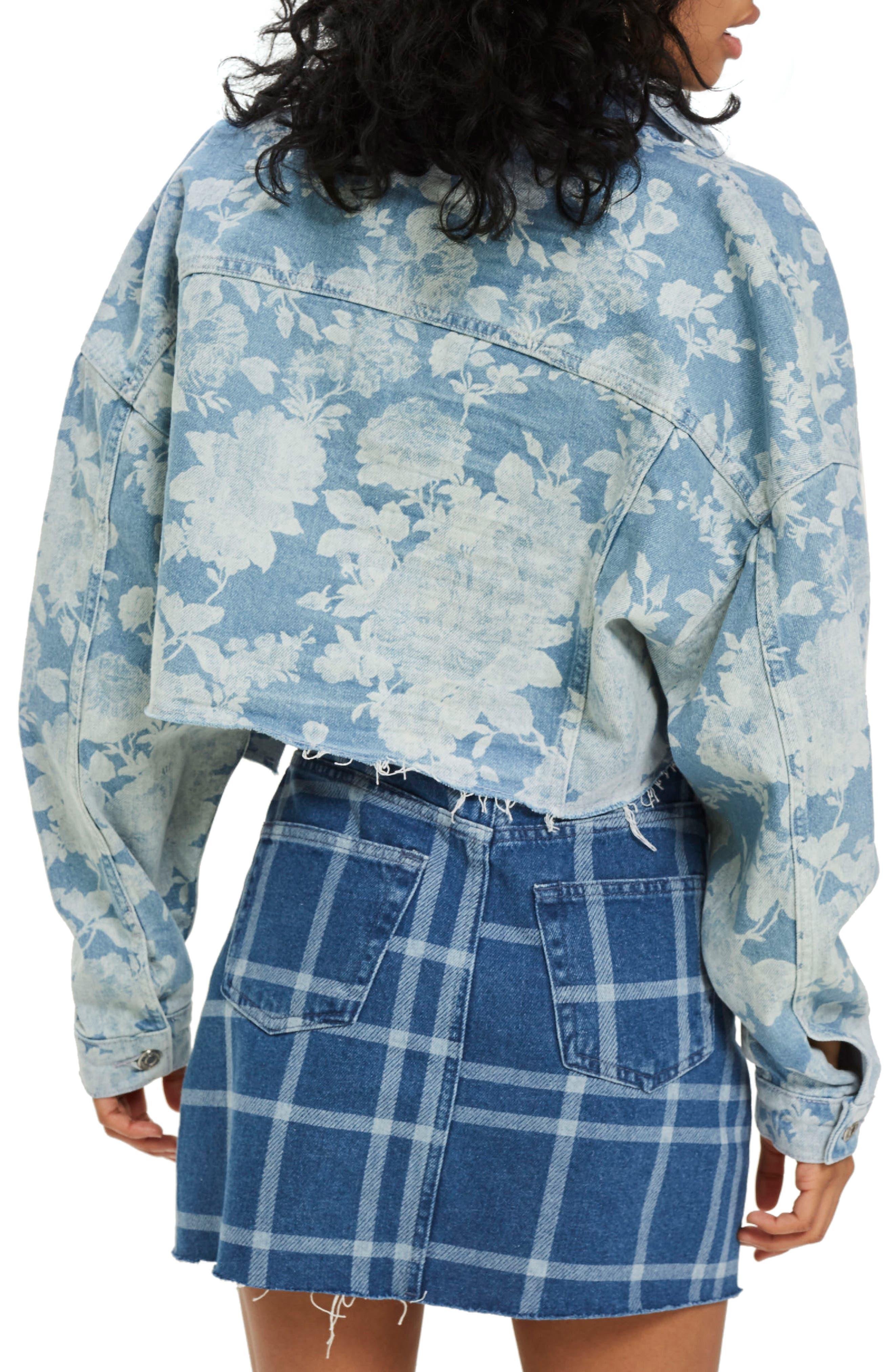 Floral Moto Two-Tone Denim Jacket,                             Alternate thumbnail 3, color,                             Mid Denim Multi
