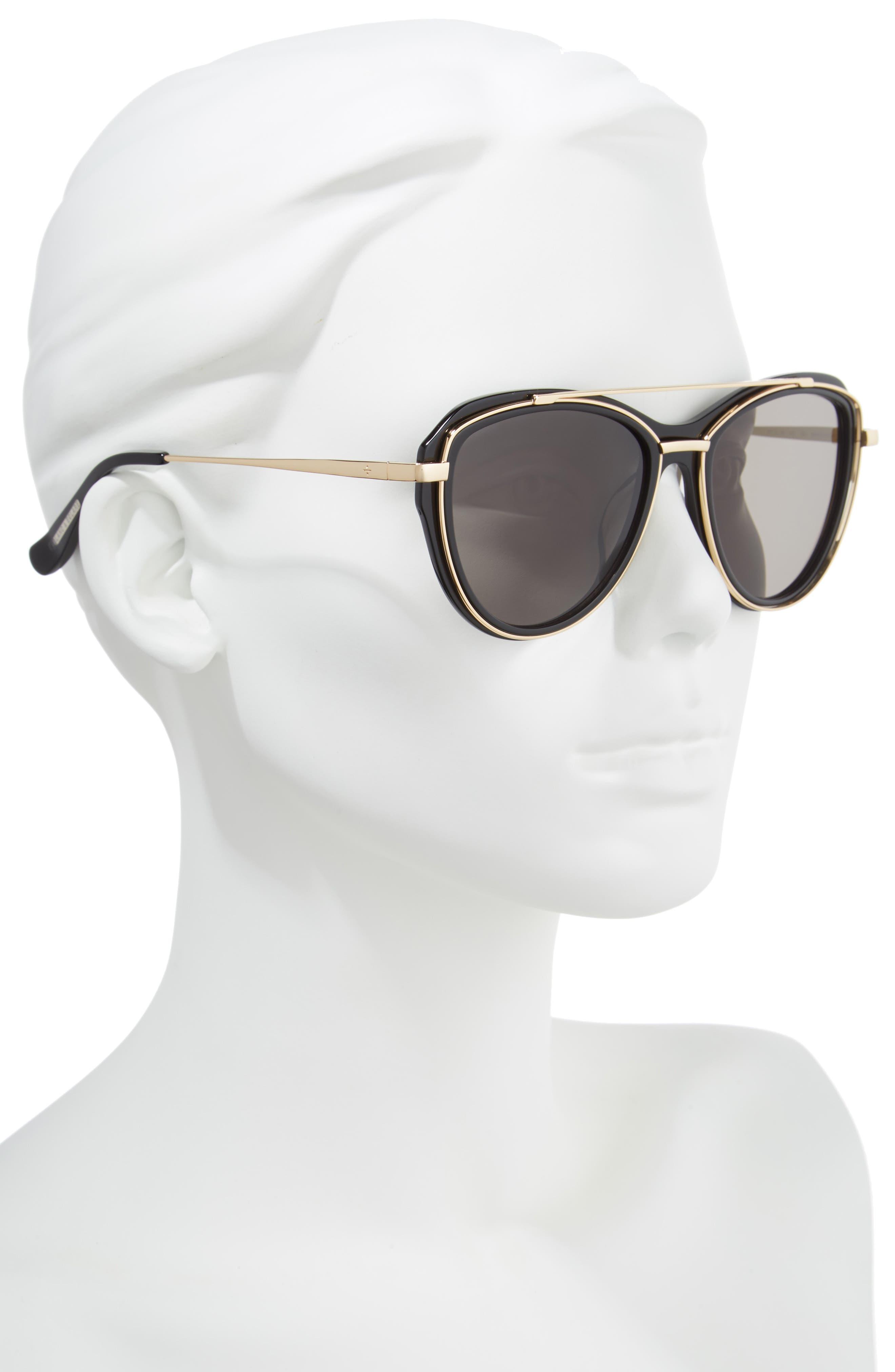 BLANC & ECLARE Marrakesh 57mm Aviator Sunglasses,                             Alternate thumbnail 2, color,                             Black/ Gold/ Smog Grey