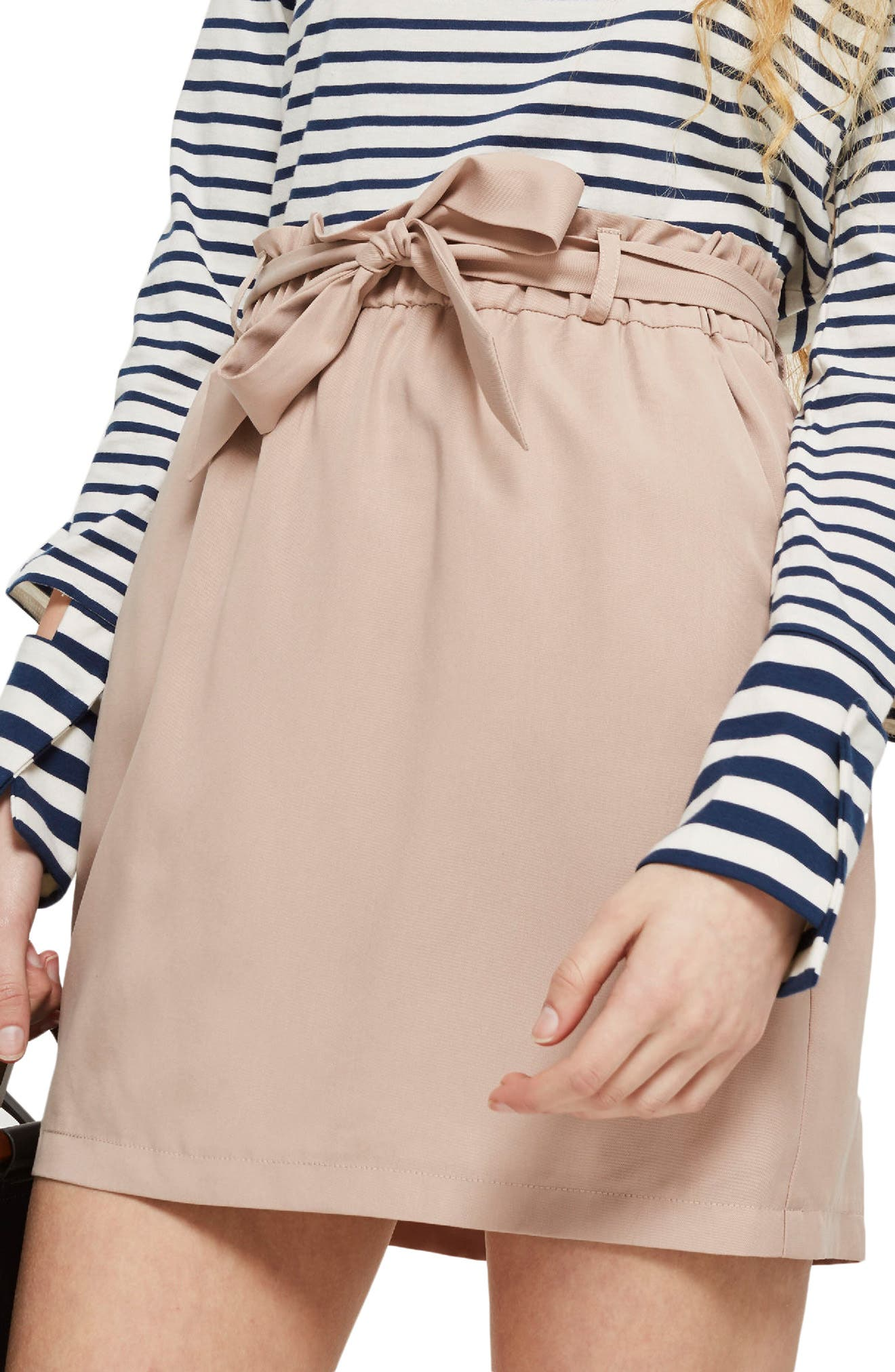 Paperbag Tie Miniskirt,                             Alternate thumbnail 3, color,                             Blush