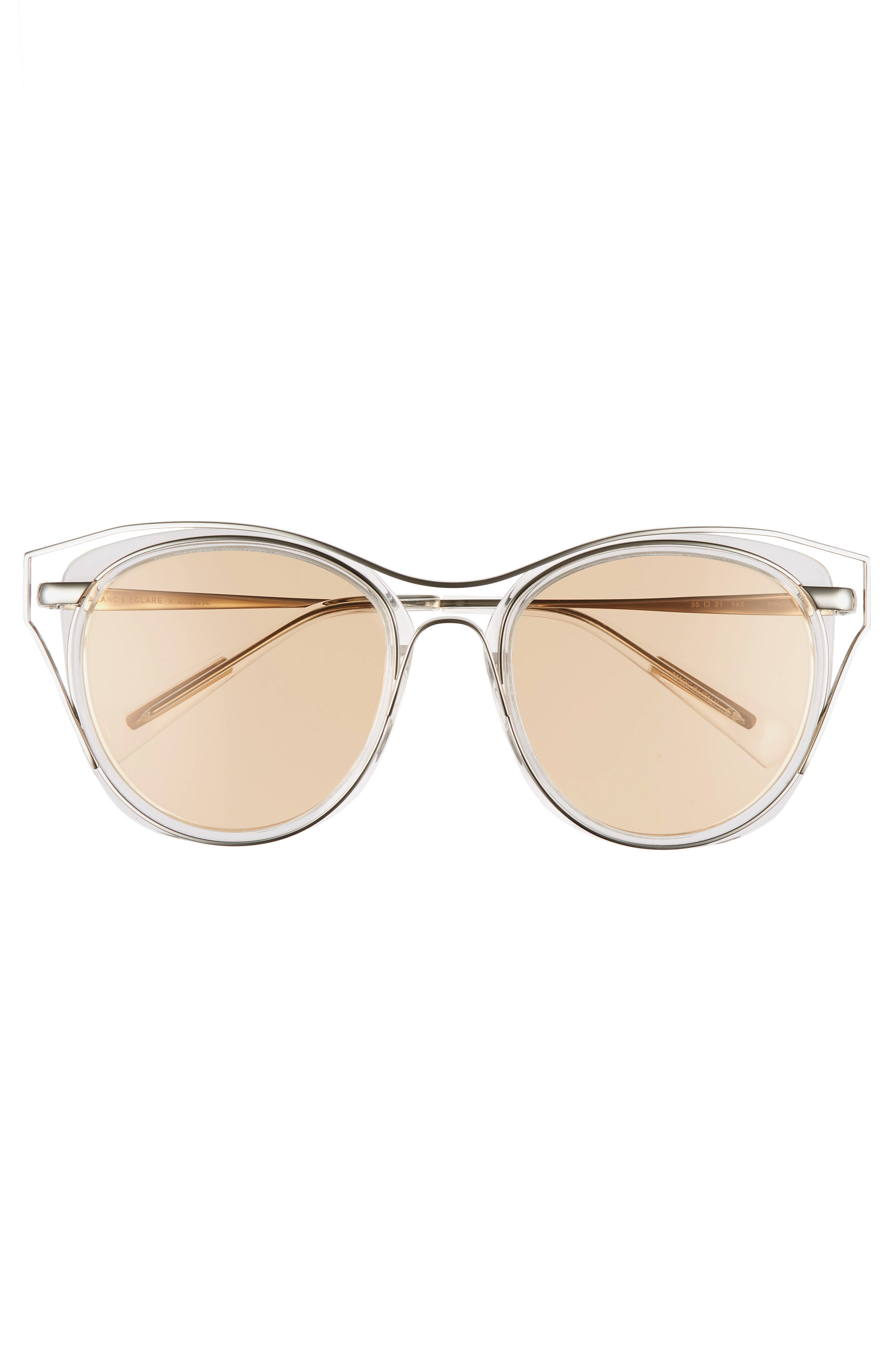 BLANC & ECLARE Singapore 55mm Polarized Sunglasses,                             Alternate thumbnail 3, color,                             Transparent/ Slv/ Orange