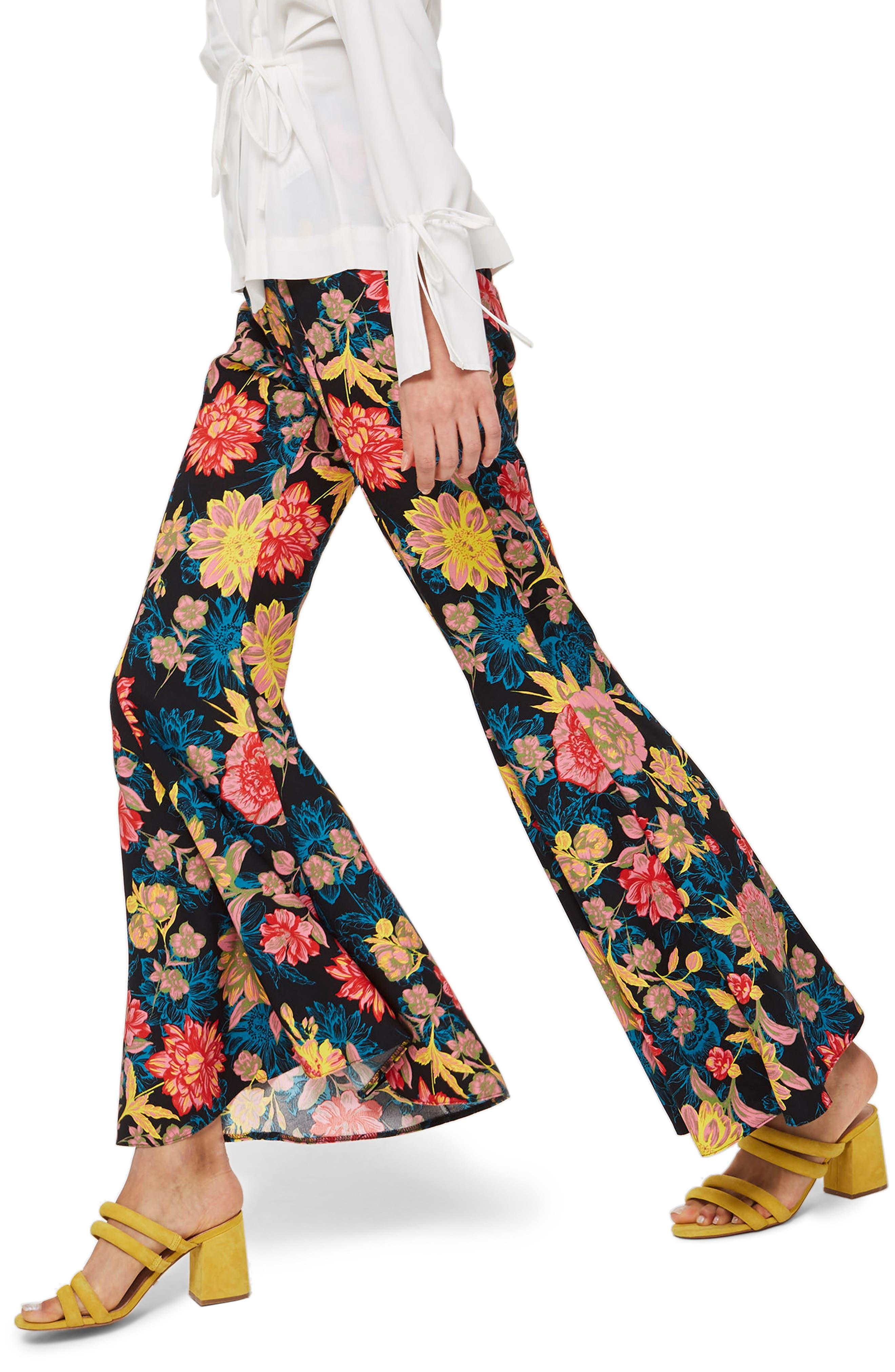 Alpha Floral Super Flare Trousers,                             Alternate thumbnail 3, color,                             Blue Multi