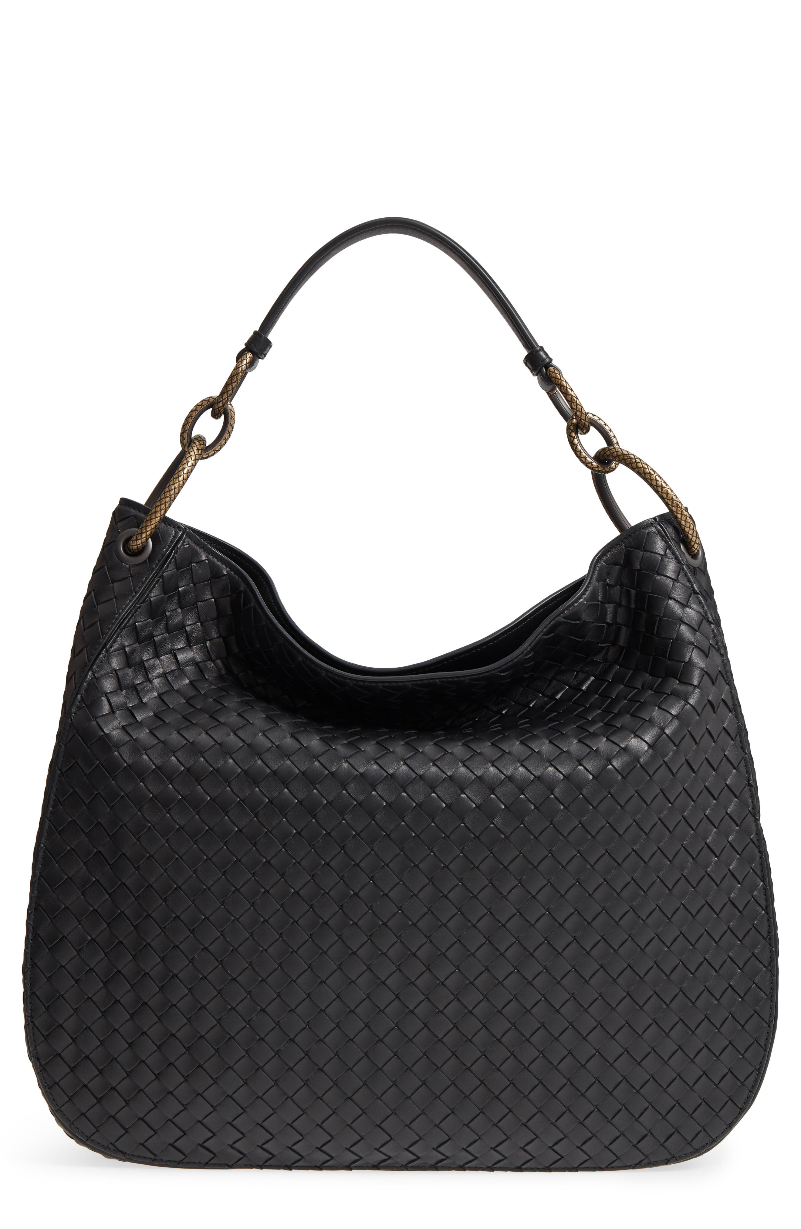 Large Loop Woven Leather Hobo,                             Main thumbnail 1, color,                             Nero