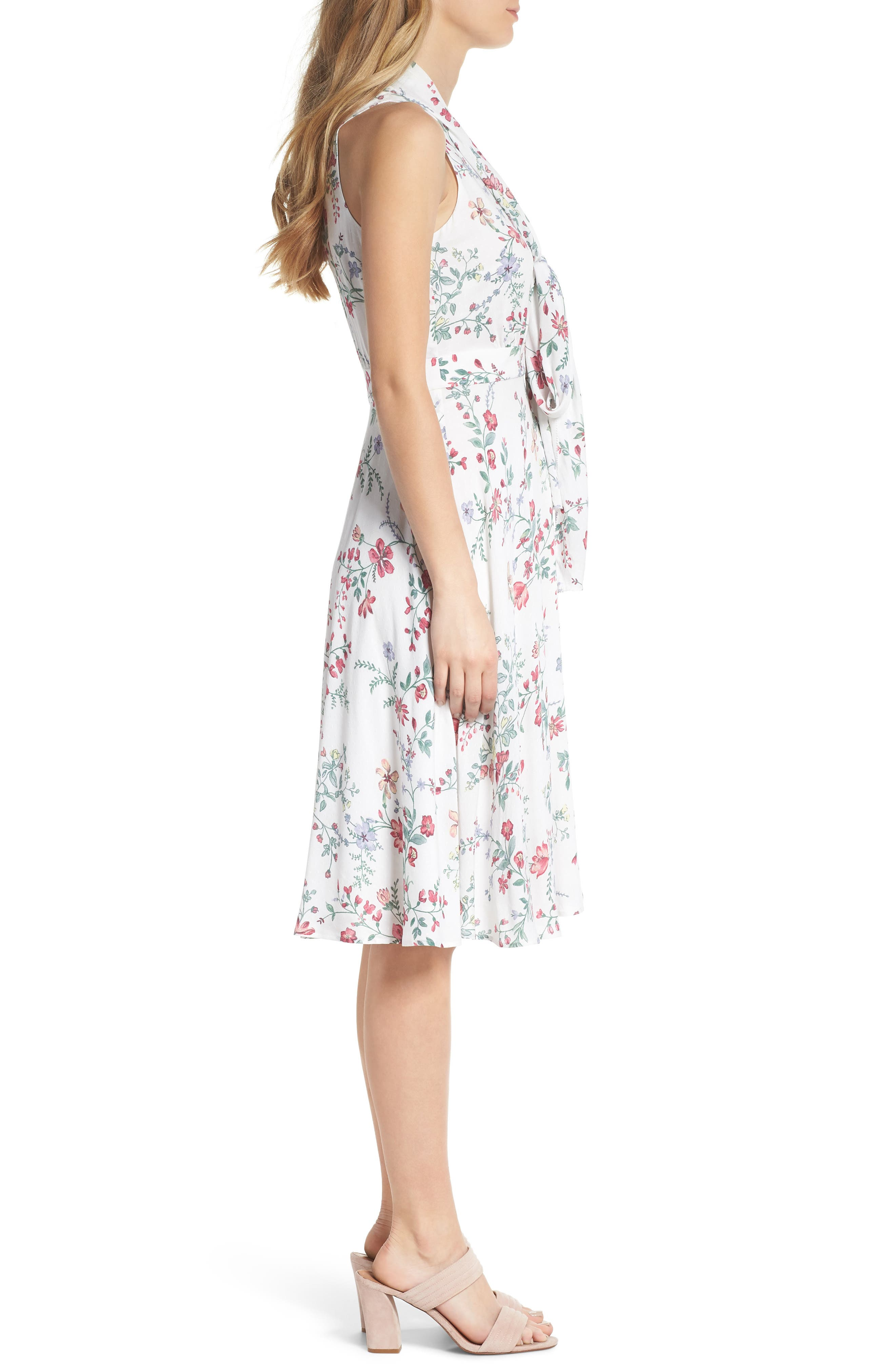 Alexis Delicate Blossom Print Tie Neck Dress,                             Alternate thumbnail 4, color,                             Pearl Rose