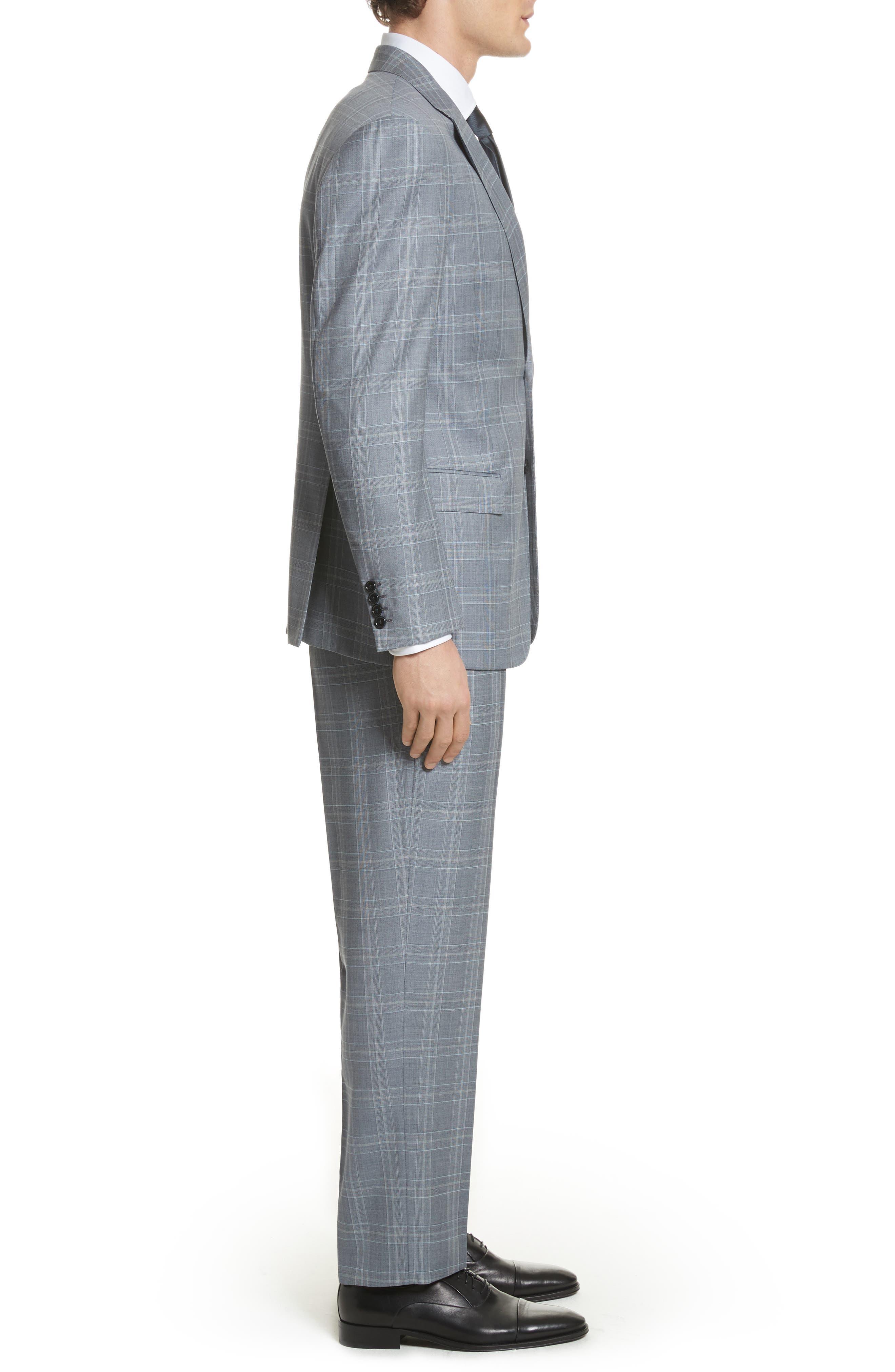 G-Line Trim Fit Plaid Wool Suit,                             Alternate thumbnail 3, color,                             Grey