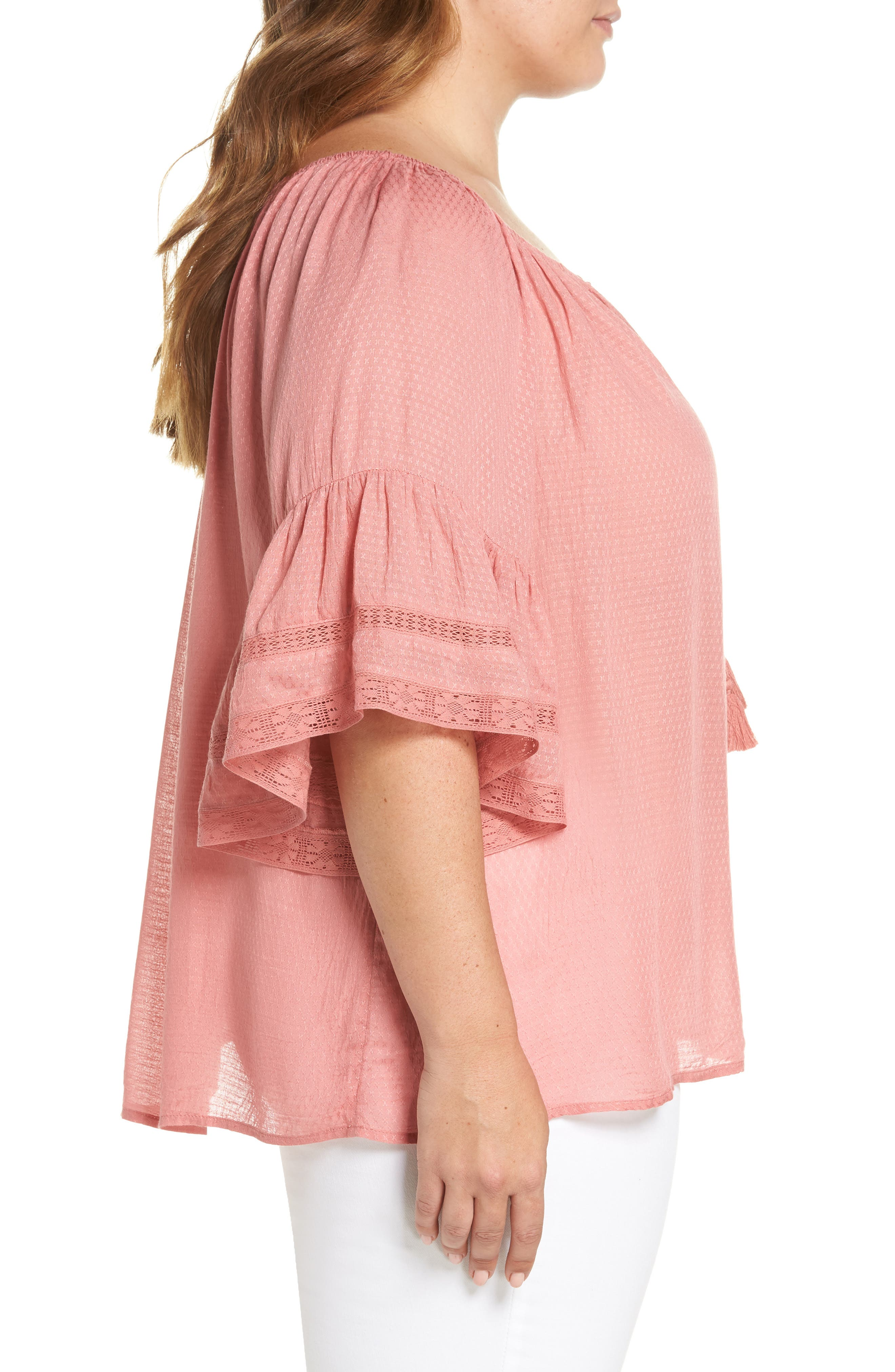 Bell Sleeve Peasant Top,                             Alternate thumbnail 3, color,                             Rose