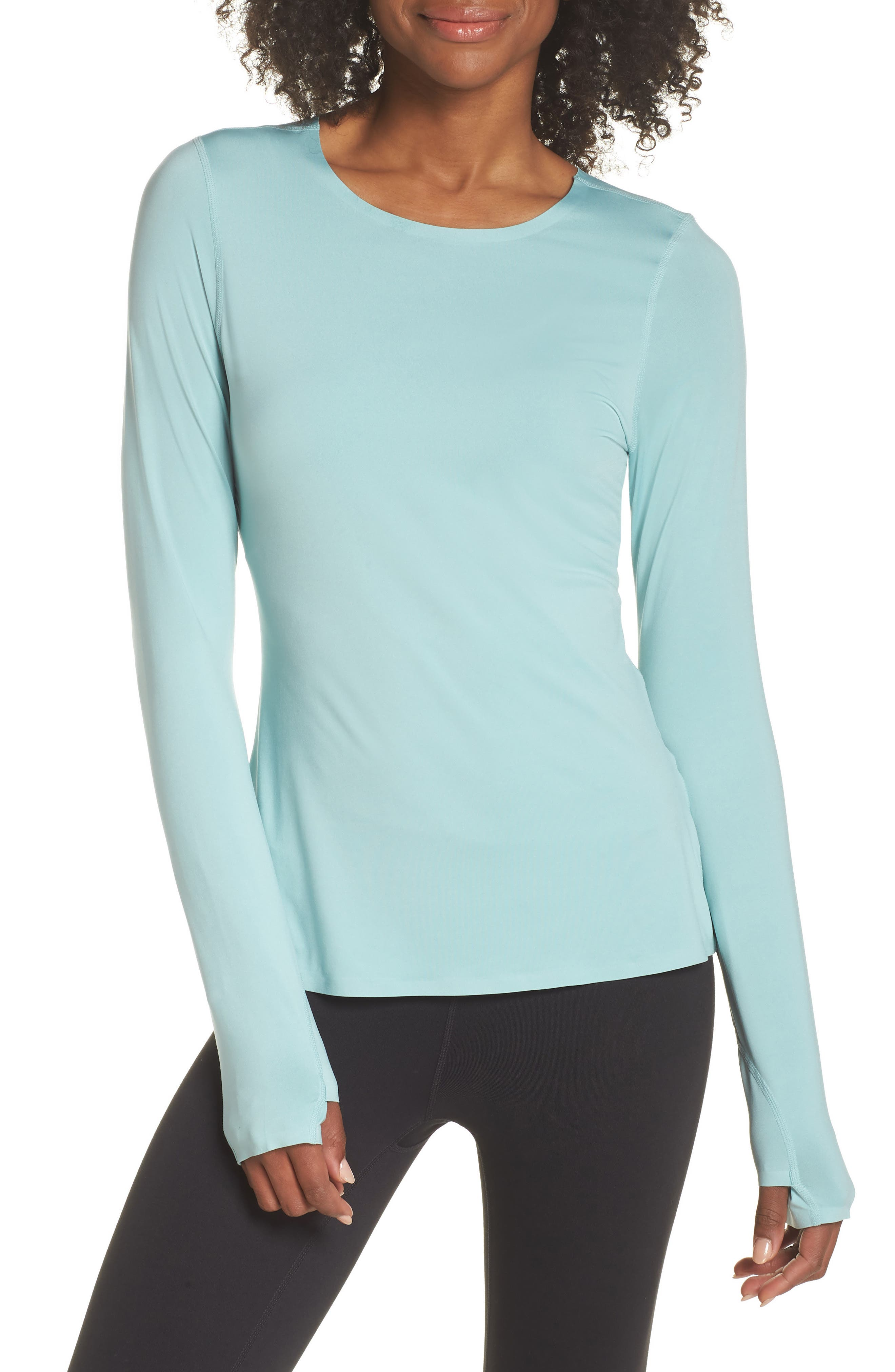 Realized Long Sleeve Tee,                         Main,                         color, Teal Aquifer