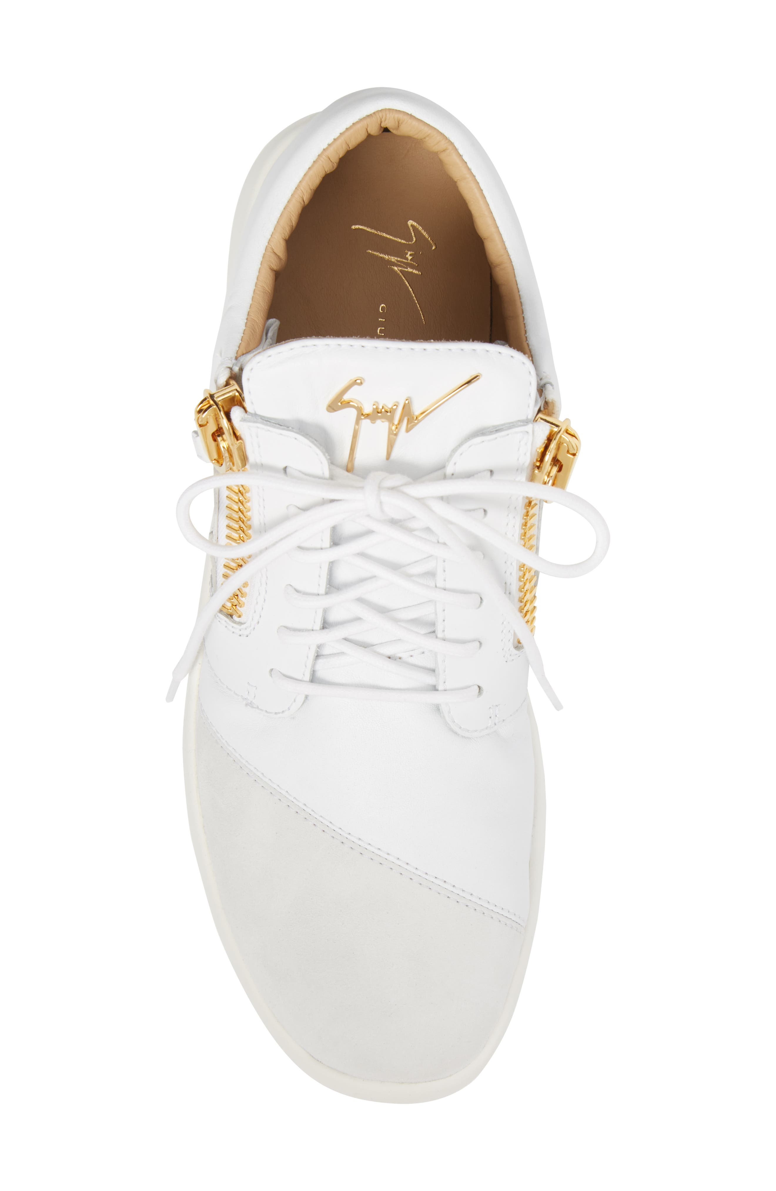 Double Zip Trainer Sneaker,                             Alternate thumbnail 5, color,                             Bianco