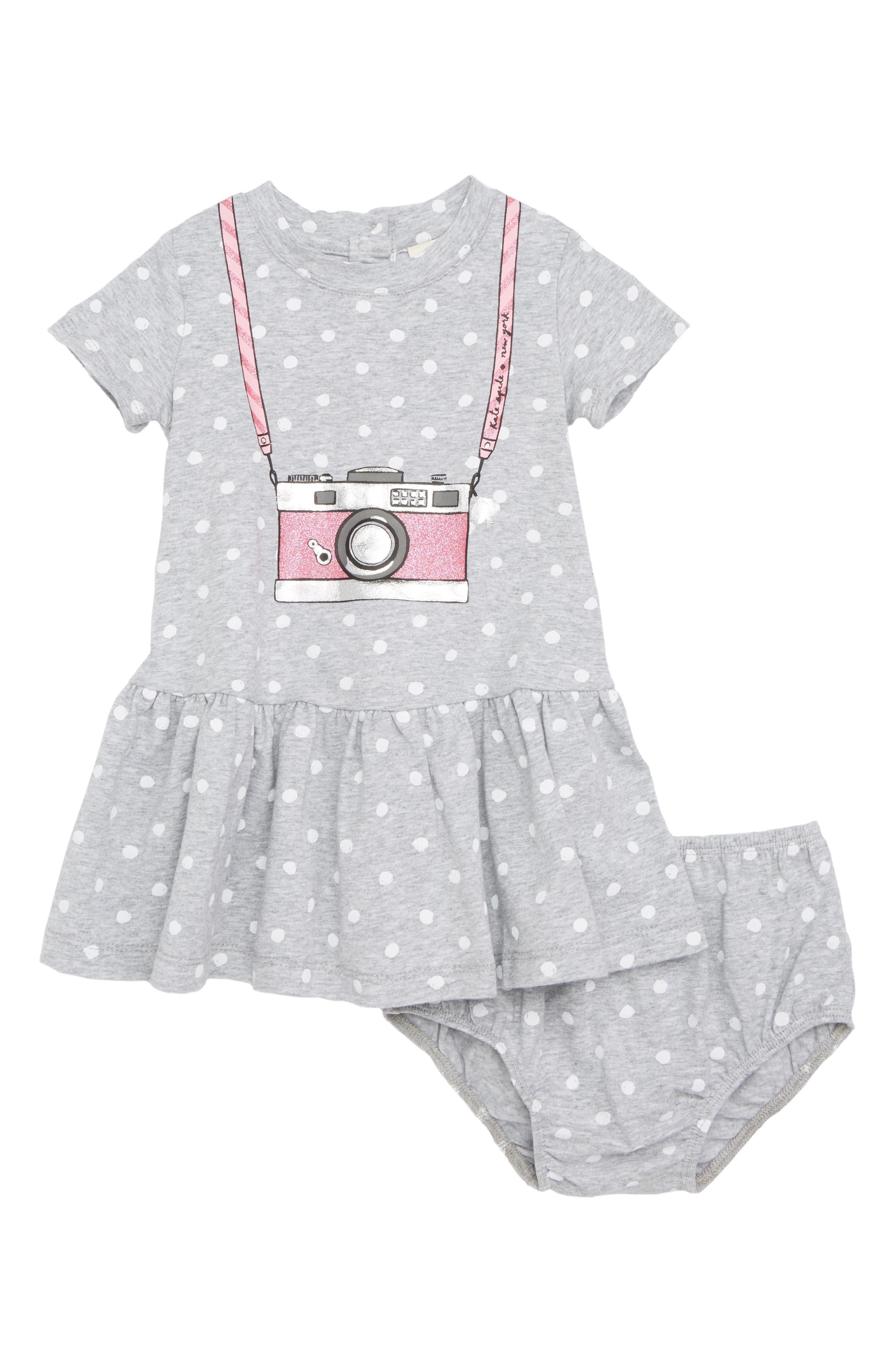 camera polka dot dress,                         Main,                         color, Heather Grey
