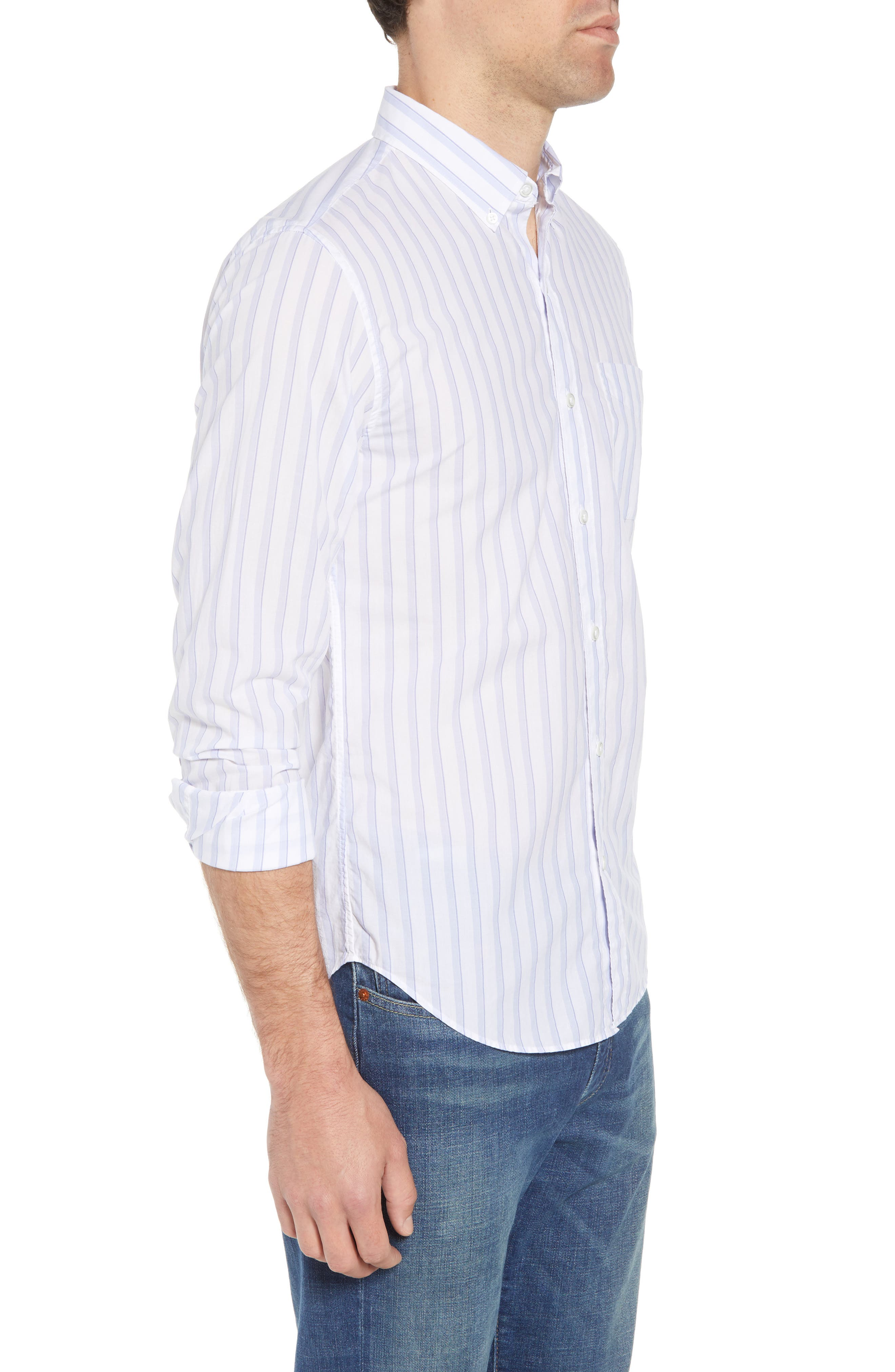 Summerweight Slim Fit Stripe Sport Shirt,                             Alternate thumbnail 4, color,                             Clear Tide Stripe - Della Blue