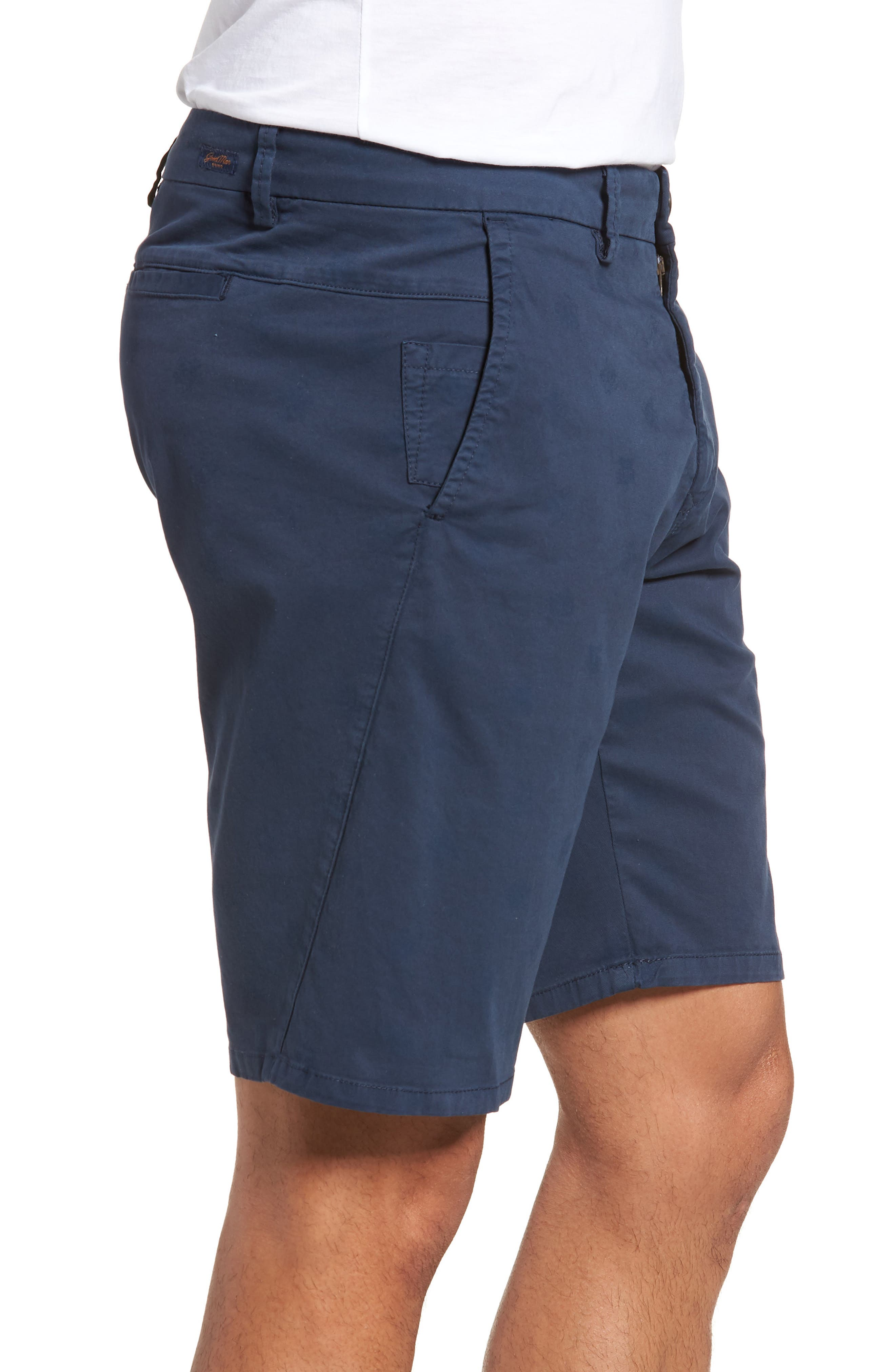 Monaco Floral Stretch Shorts,                             Alternate thumbnail 3, color,                             Indigo