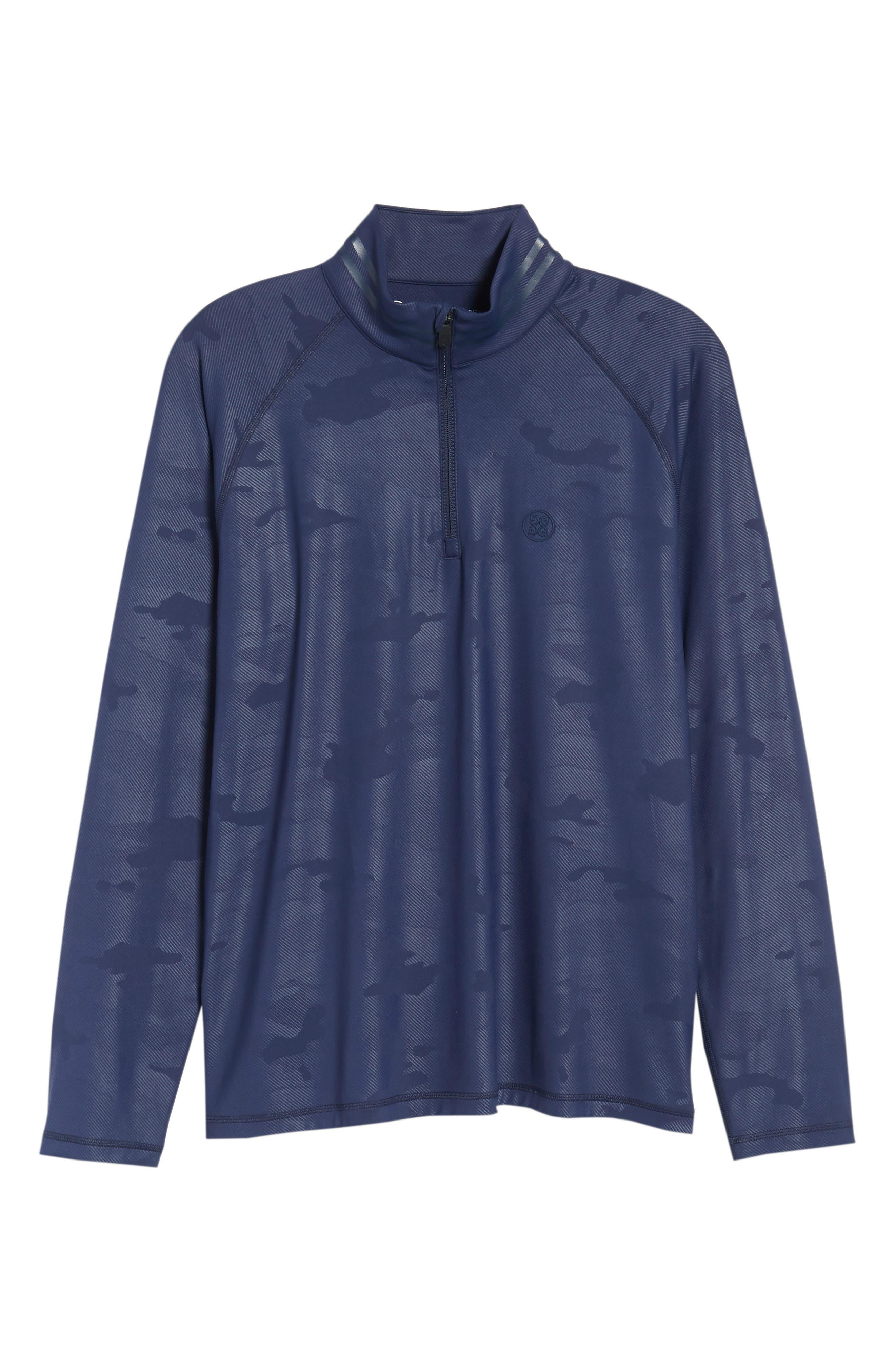 Camo Regular Fit Quarter-Zip Pullover,                             Alternate thumbnail 6, color,                             Twilight