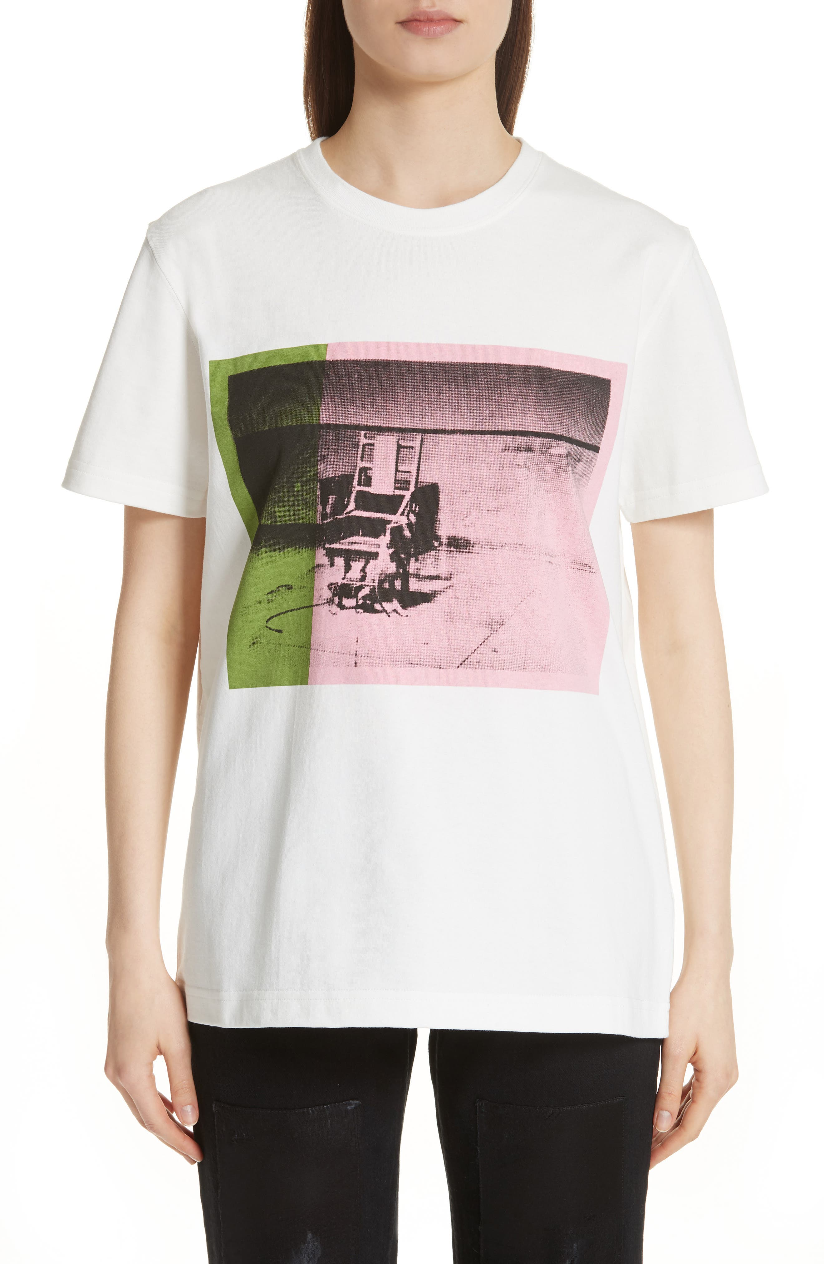 x Andy Warhol Foundation Electric Chair Graphic Tee,                             Main thumbnail 1, color,                             White/ Pink/ Green