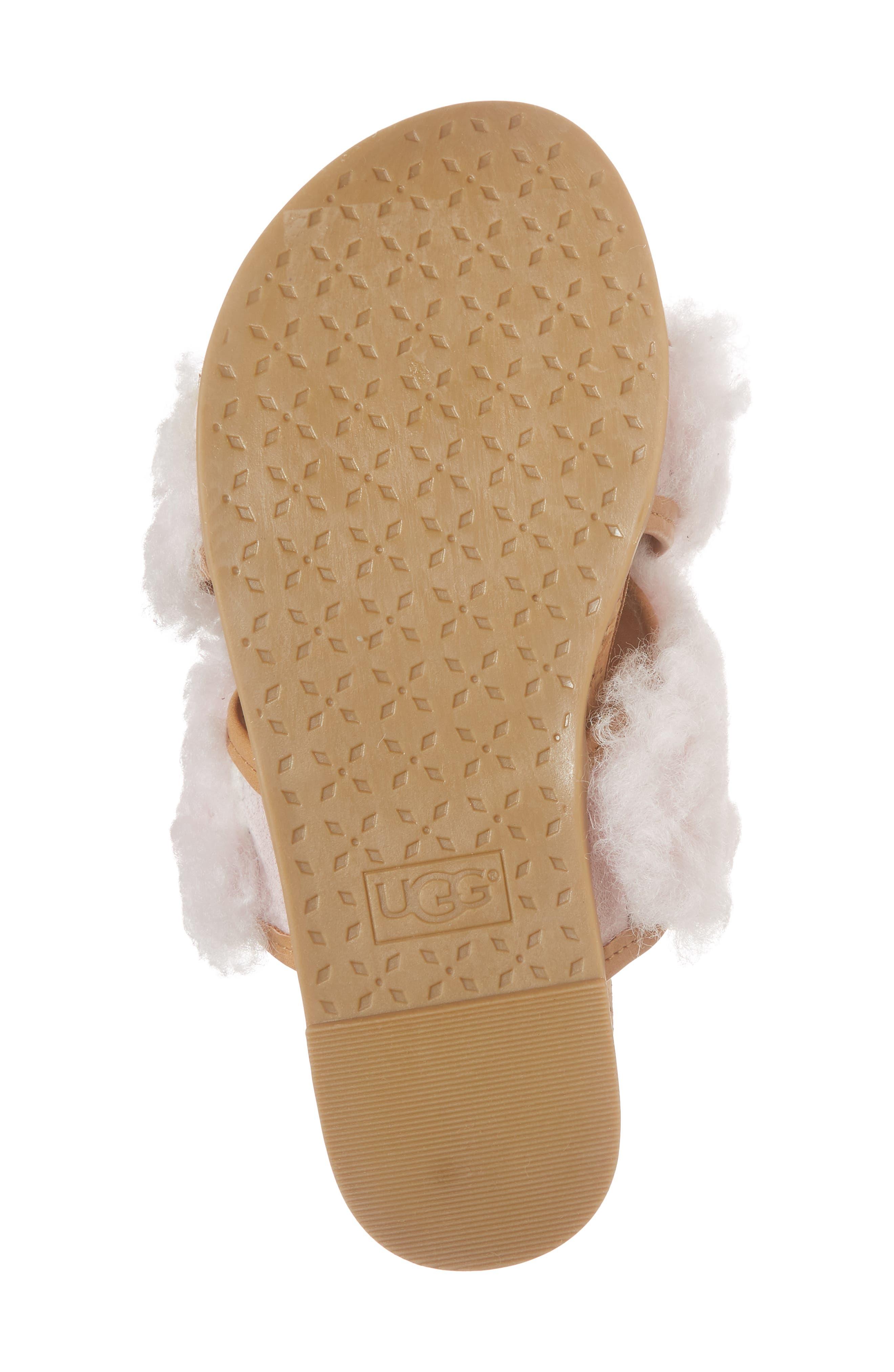 Staceee Genuine Shearling Slide Sandal,                             Alternate thumbnail 6, color,                             Seashell Pink