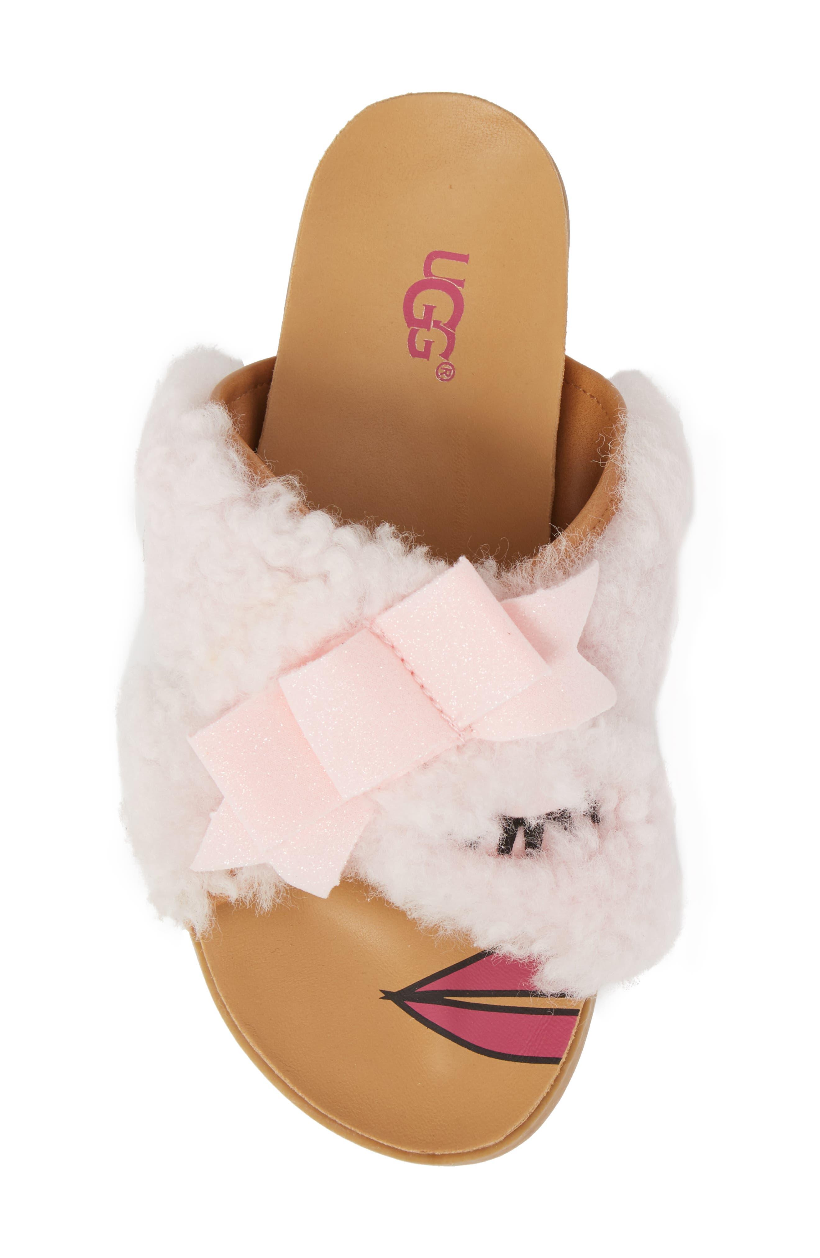 Staceee Genuine Shearling Slide Sandal,                             Alternate thumbnail 5, color,                             Seashell Pink