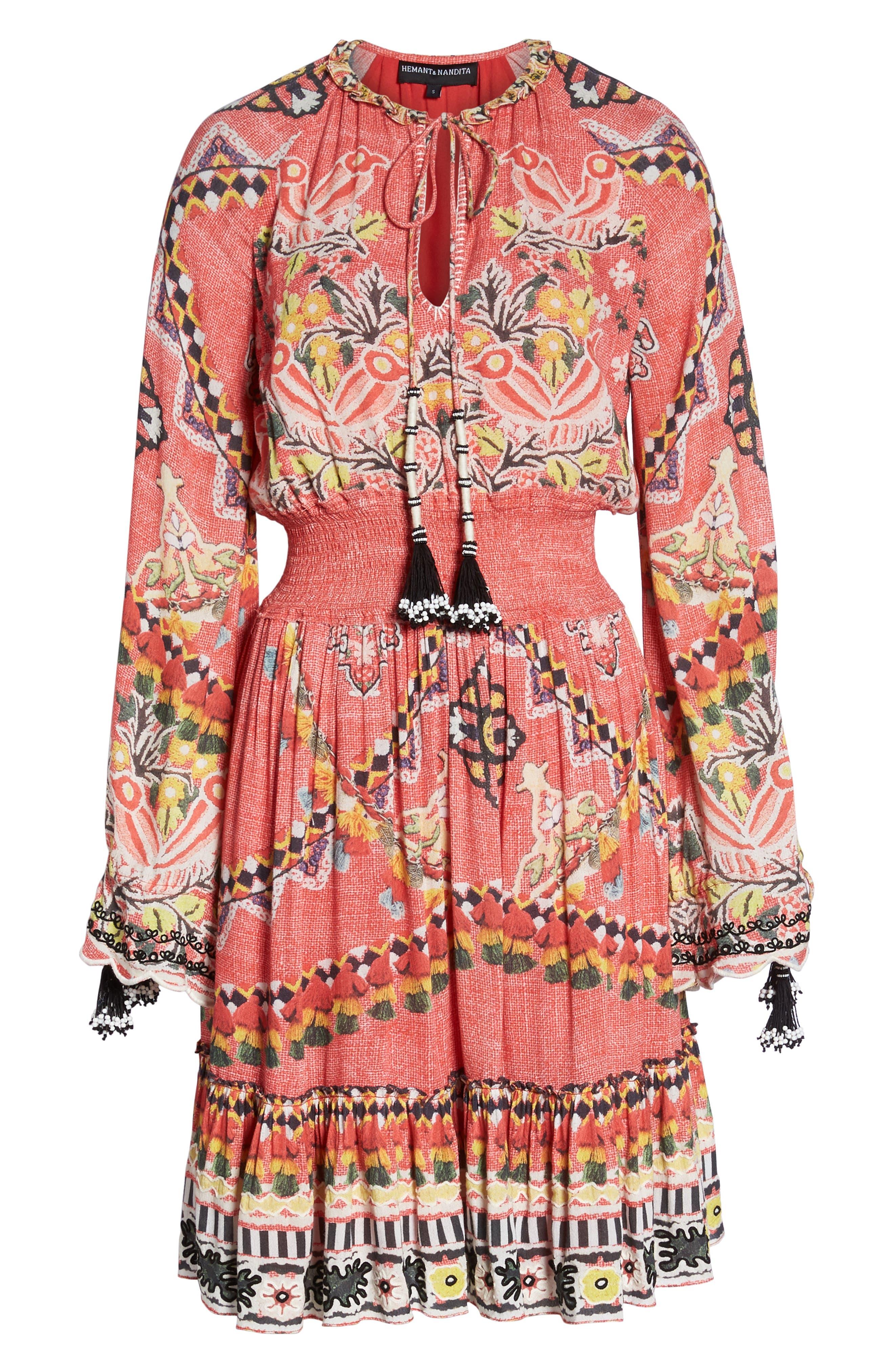 Hemant & Nandita Short Cover-Up Dress,                             Alternate thumbnail 6, color,                             Pinar