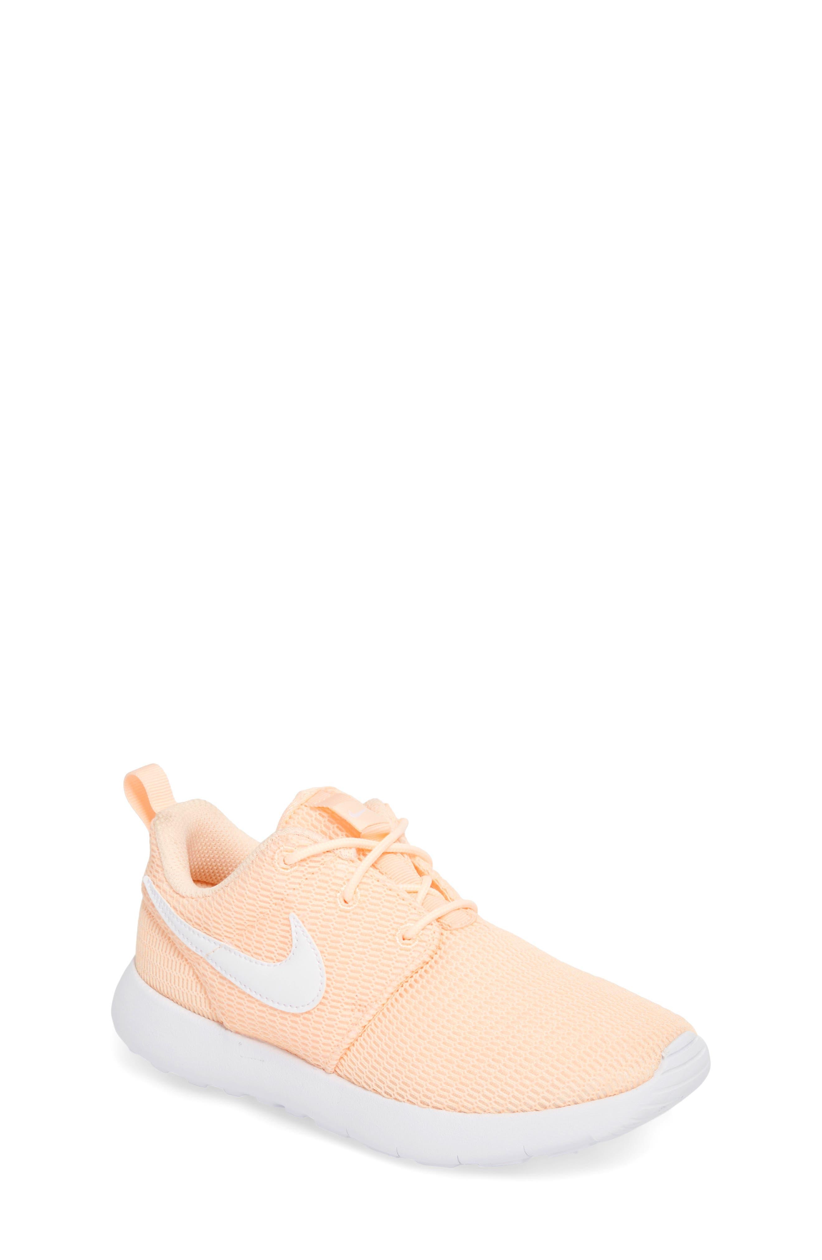 'Roshe Run' Athletic Shoe,                             Main thumbnail 1, color,                             Crimson Tint/ White
