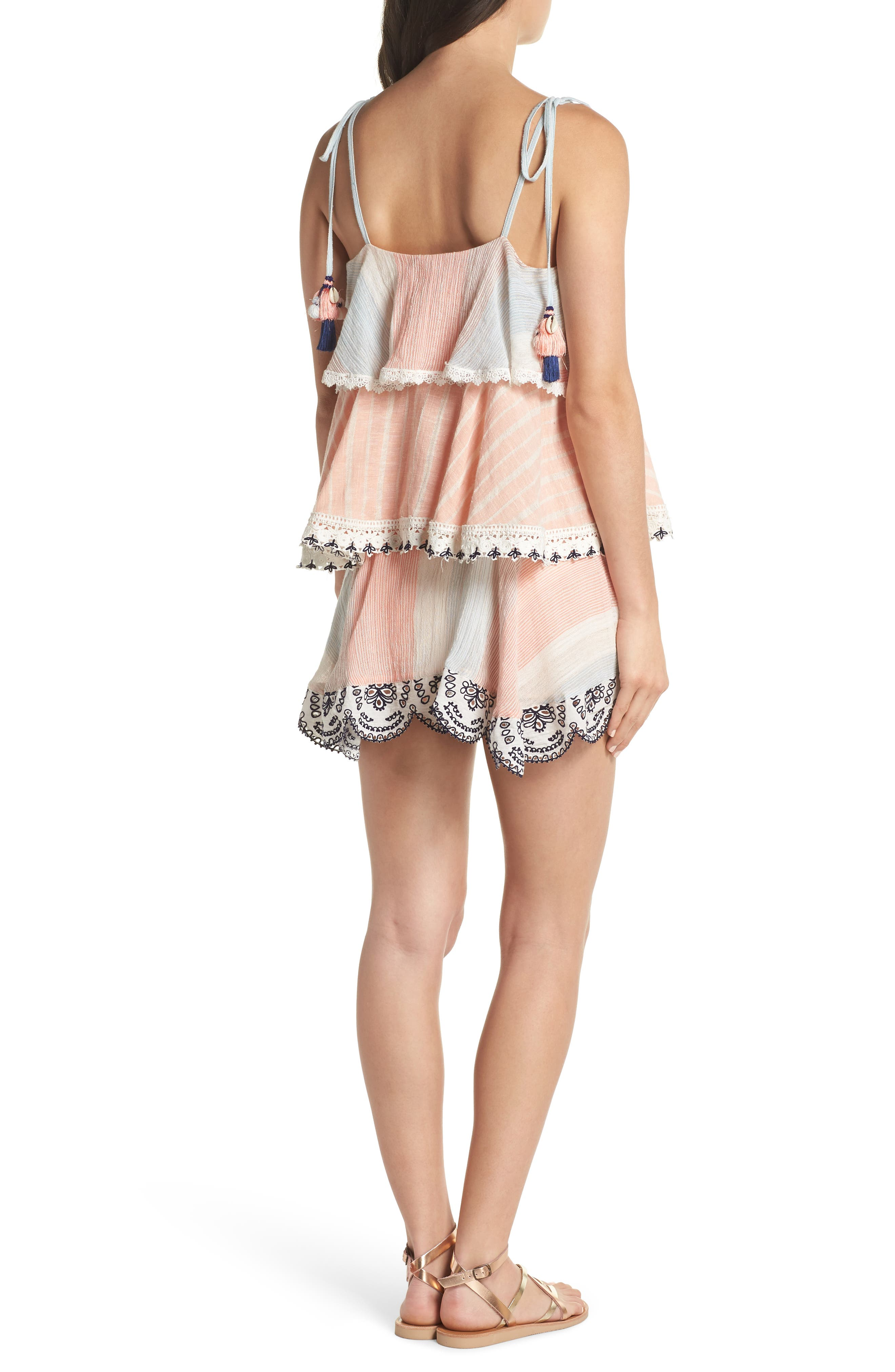 Hemant & Nandita Tiered Cover-Up Dress,                             Alternate thumbnail 2, color,                             Peach