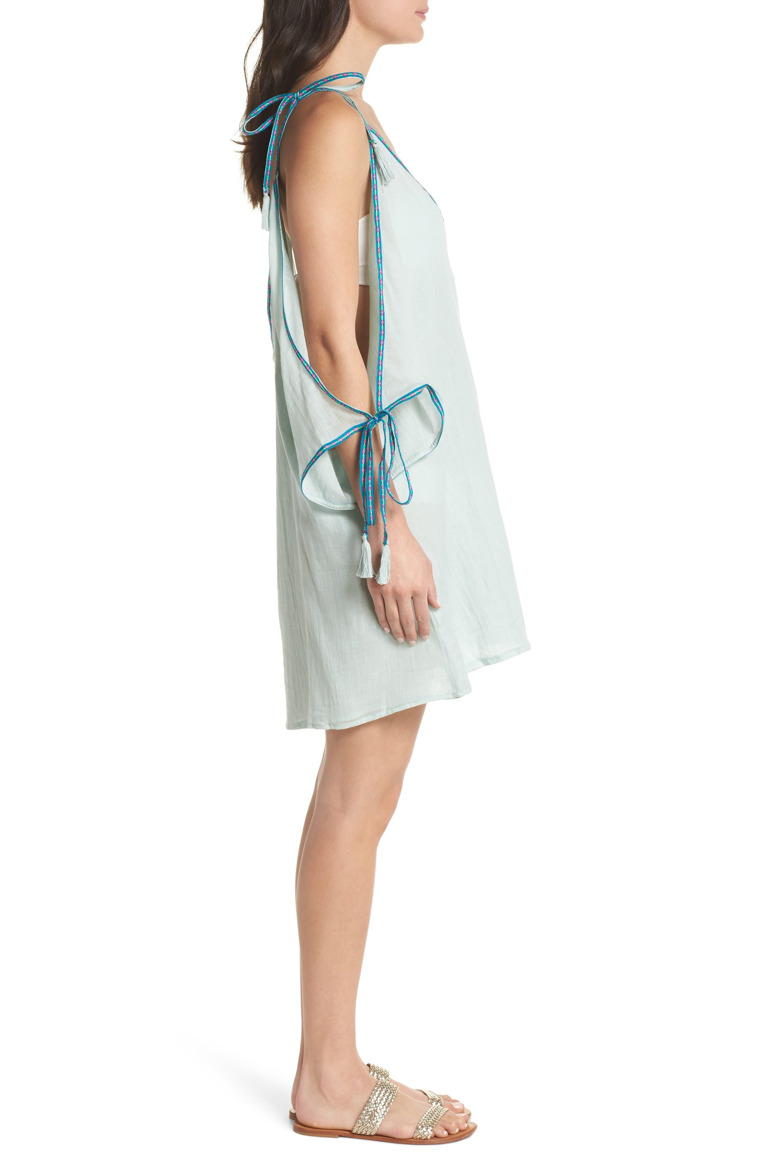 Mini Ottoman Cover-Up Dress,                             Alternate thumbnail 3, color,                             Pale Blue