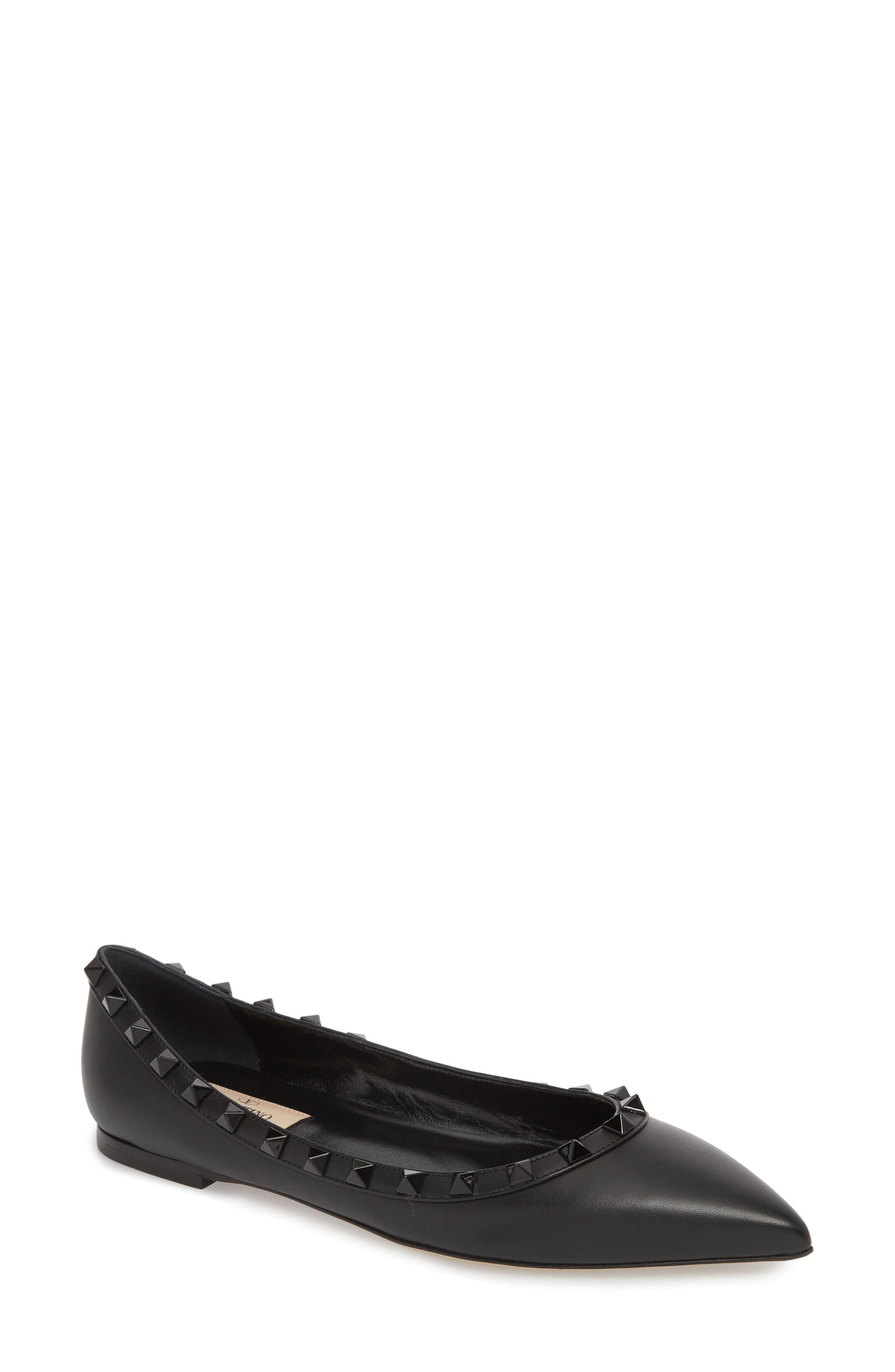 Rockstud Ballerina Flat,                         Main,                         color, Black/ Black