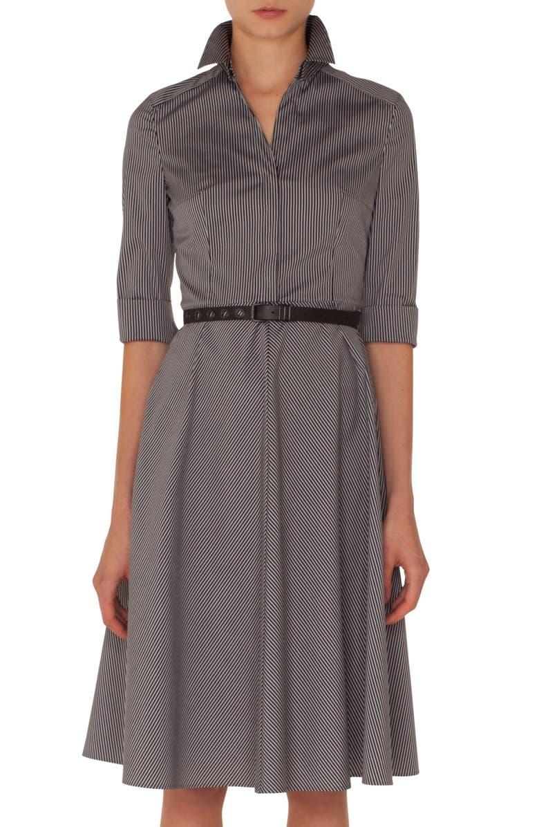 Stripe Cotton Fit  Flare Dress