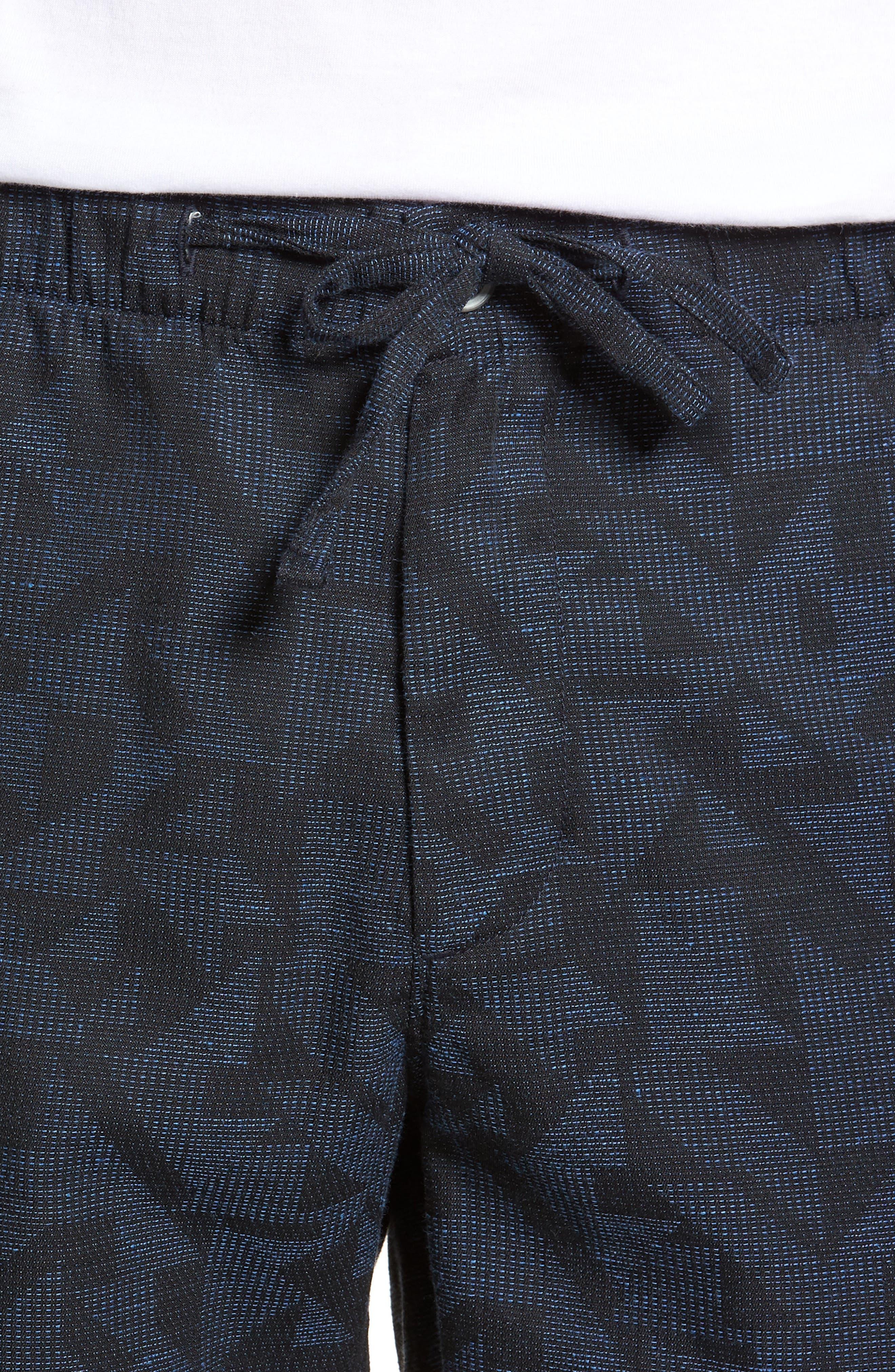 Print Beach Shorts,                             Alternate thumbnail 4, color,                             Navy Triangle Jacquard