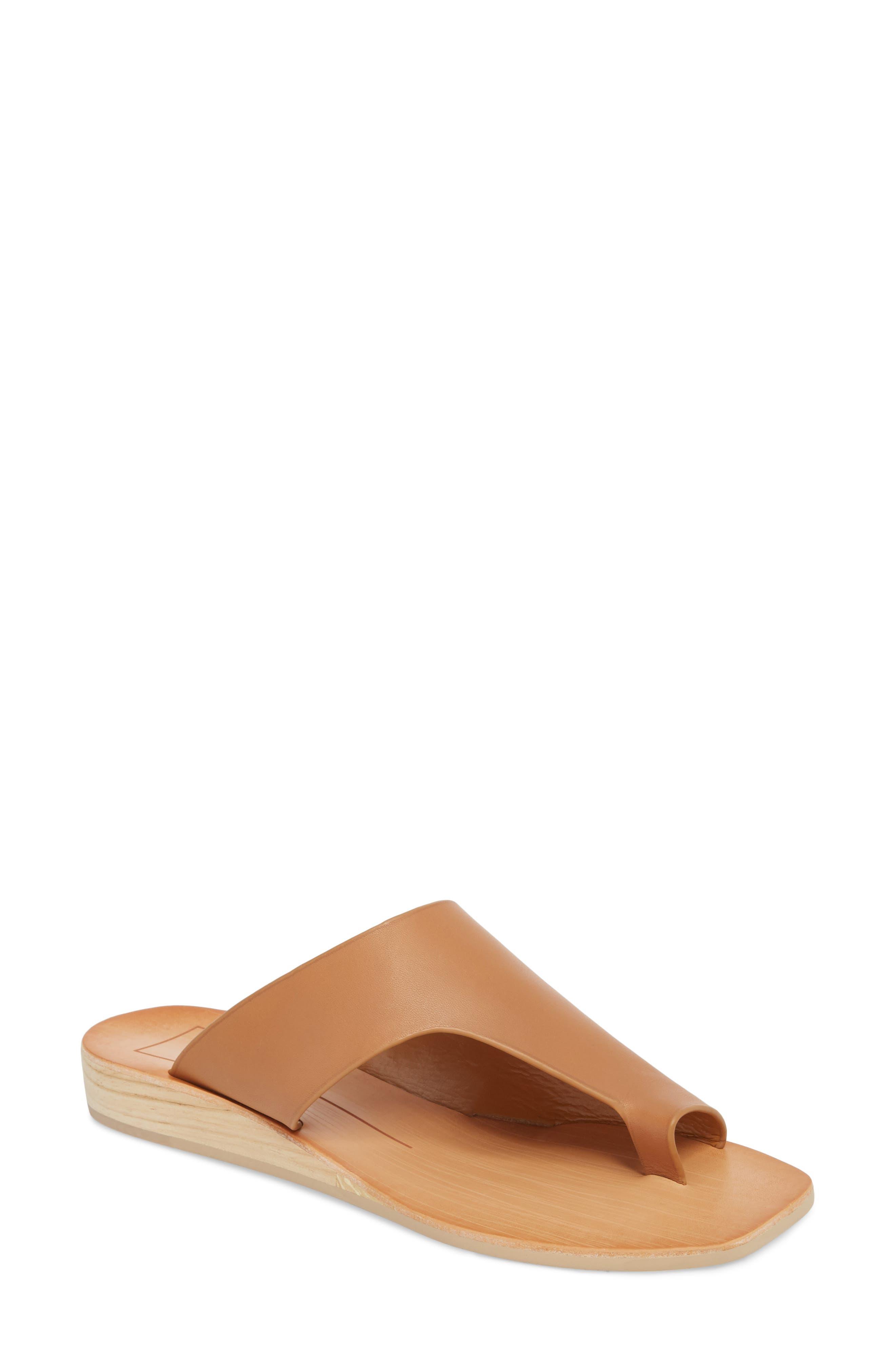 Hazle Asymmetrical Toe Loop Sandal,                             Main thumbnail 1, color,                             Caramel