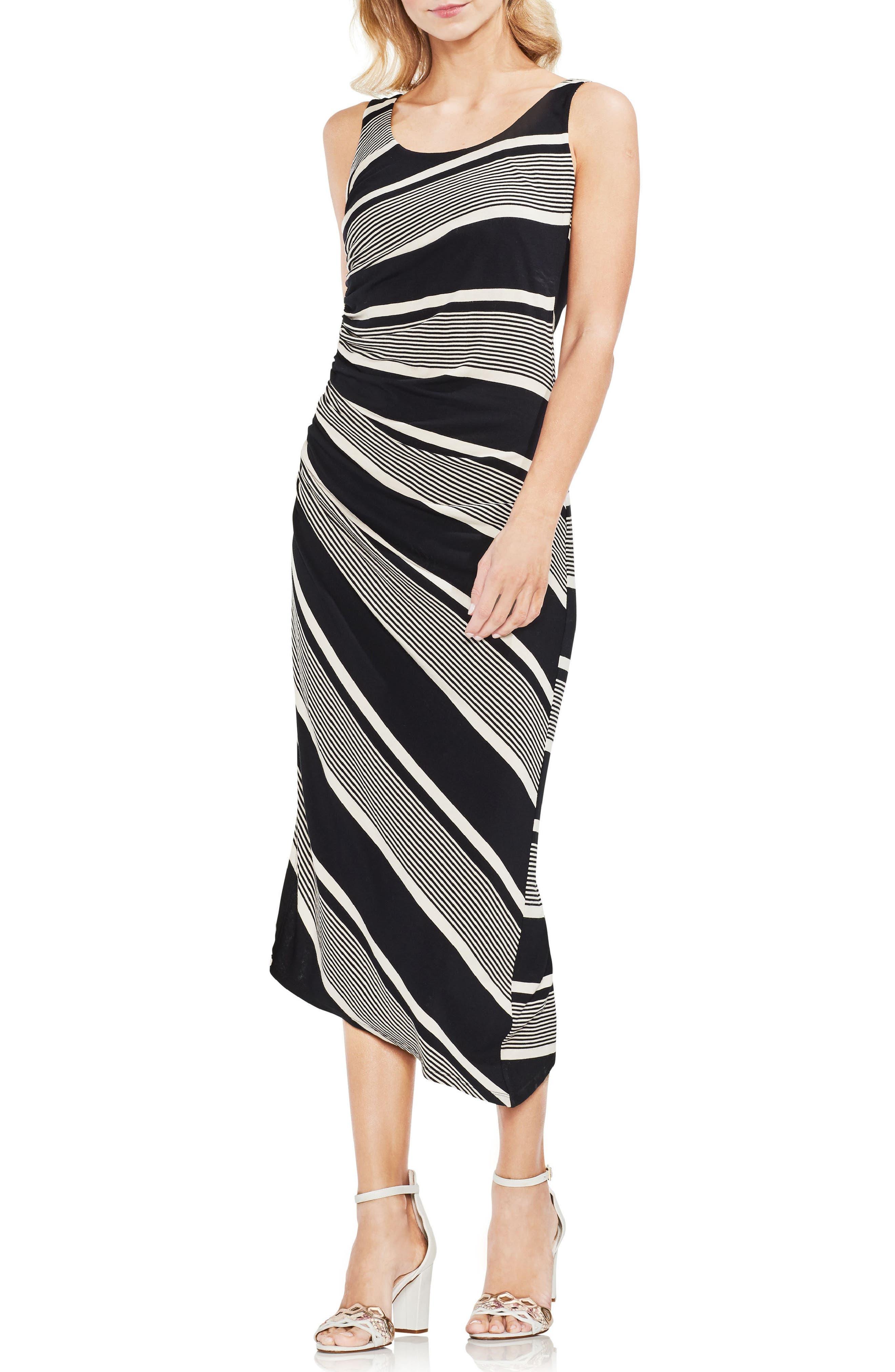 Venue Block Stripe Ruched Body-Con Dress,                         Main,                         color, 060-Rich Black