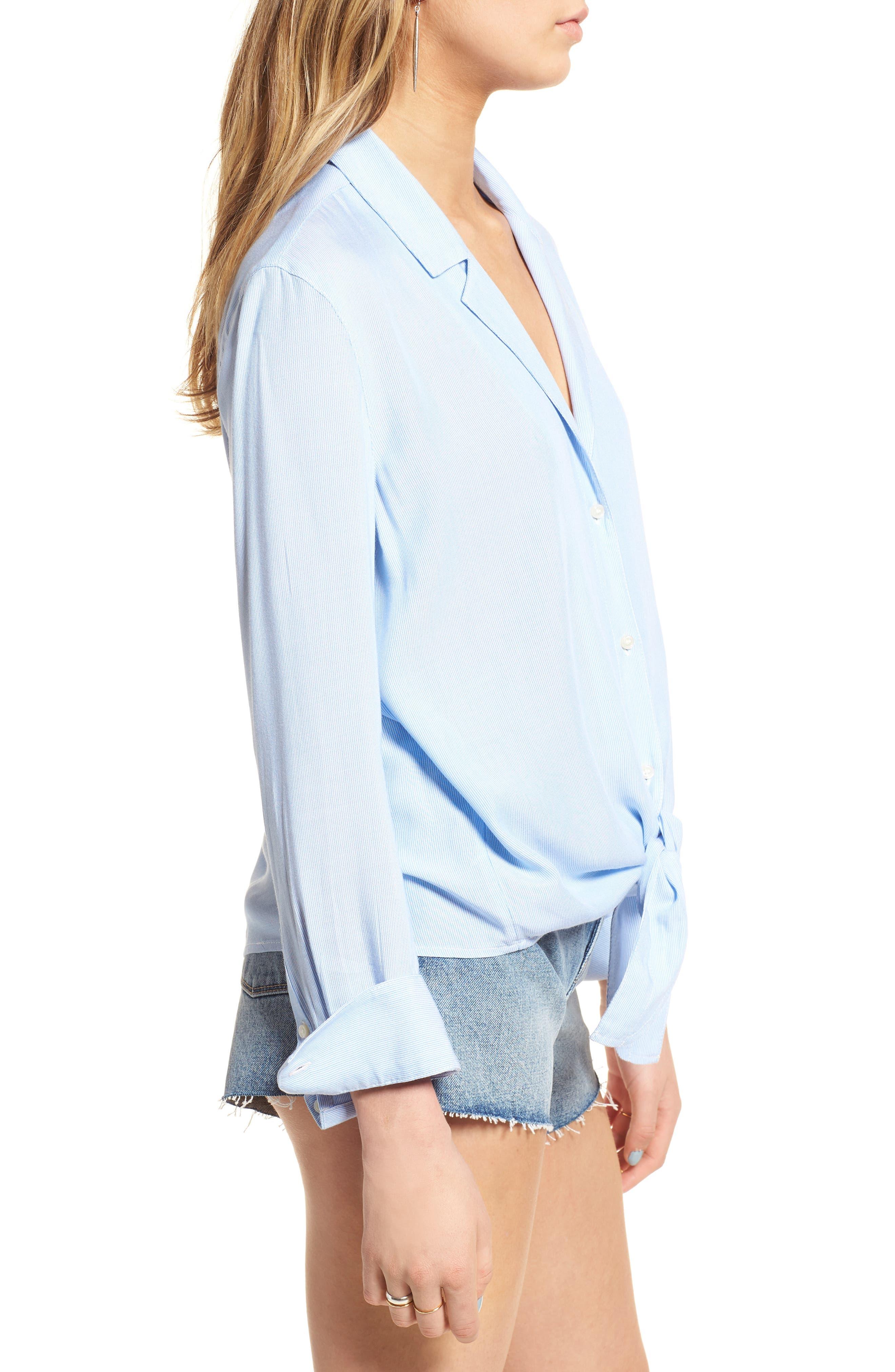 Tie Front Shirt,                             Alternate thumbnail 3, color,                             Blue Lake Micro Stripe