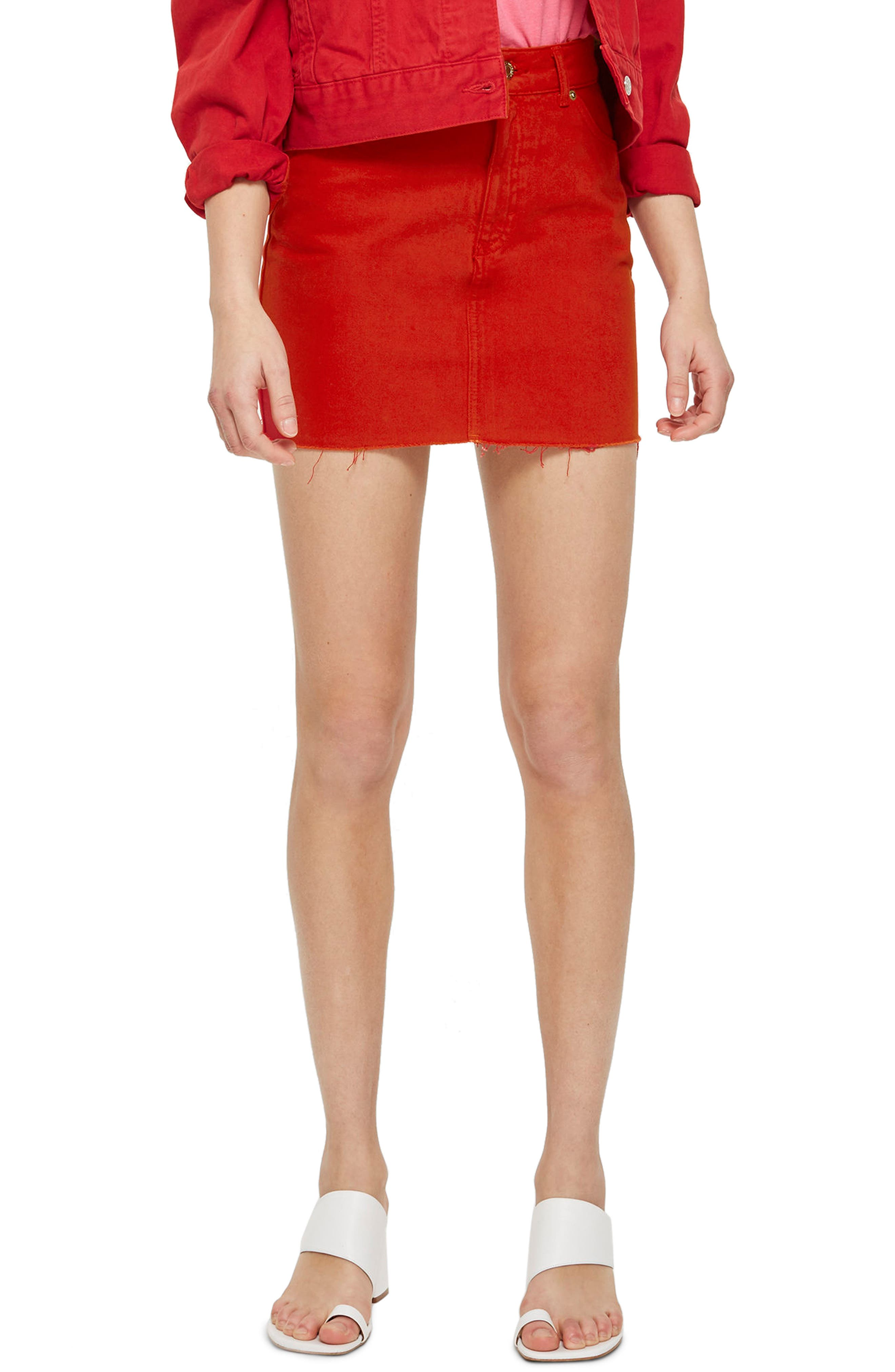 Fray Hem Miniskirt,                         Main,                         color, Red