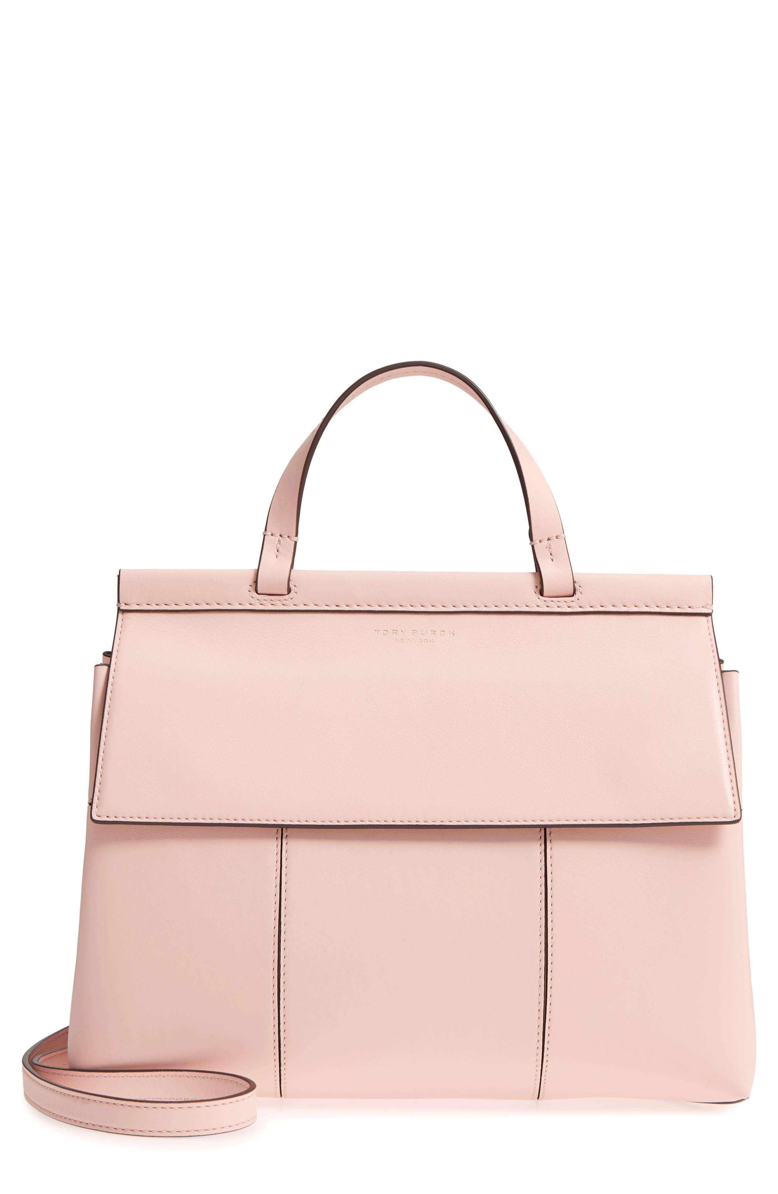 Block T Leather Top Handle Satchel,                             Main thumbnail 1, color,                             Shell Pink/ Goan Sand