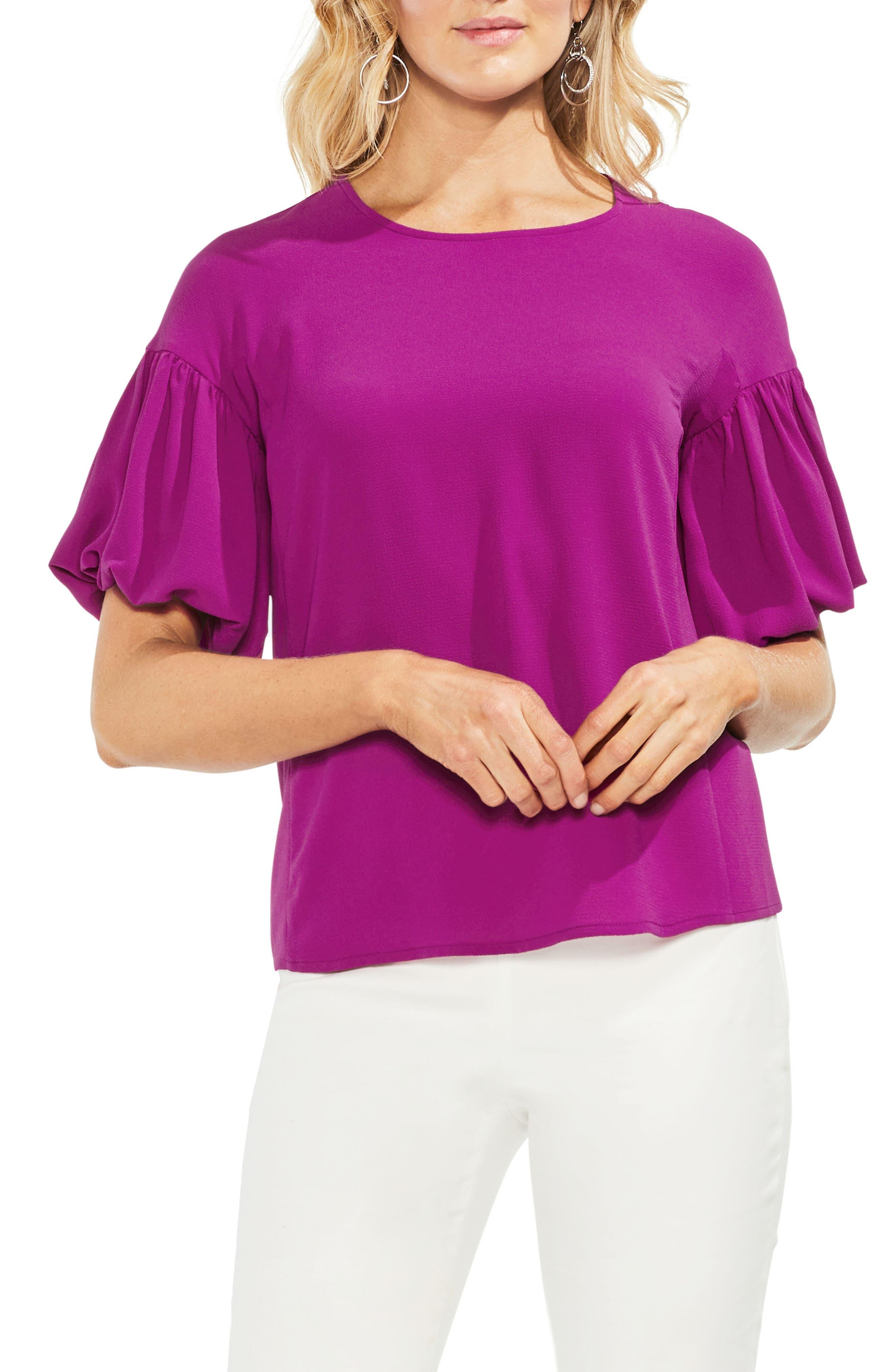 Bubble Sleeve Blouse,                         Main,                         color, Fuchsia Fury