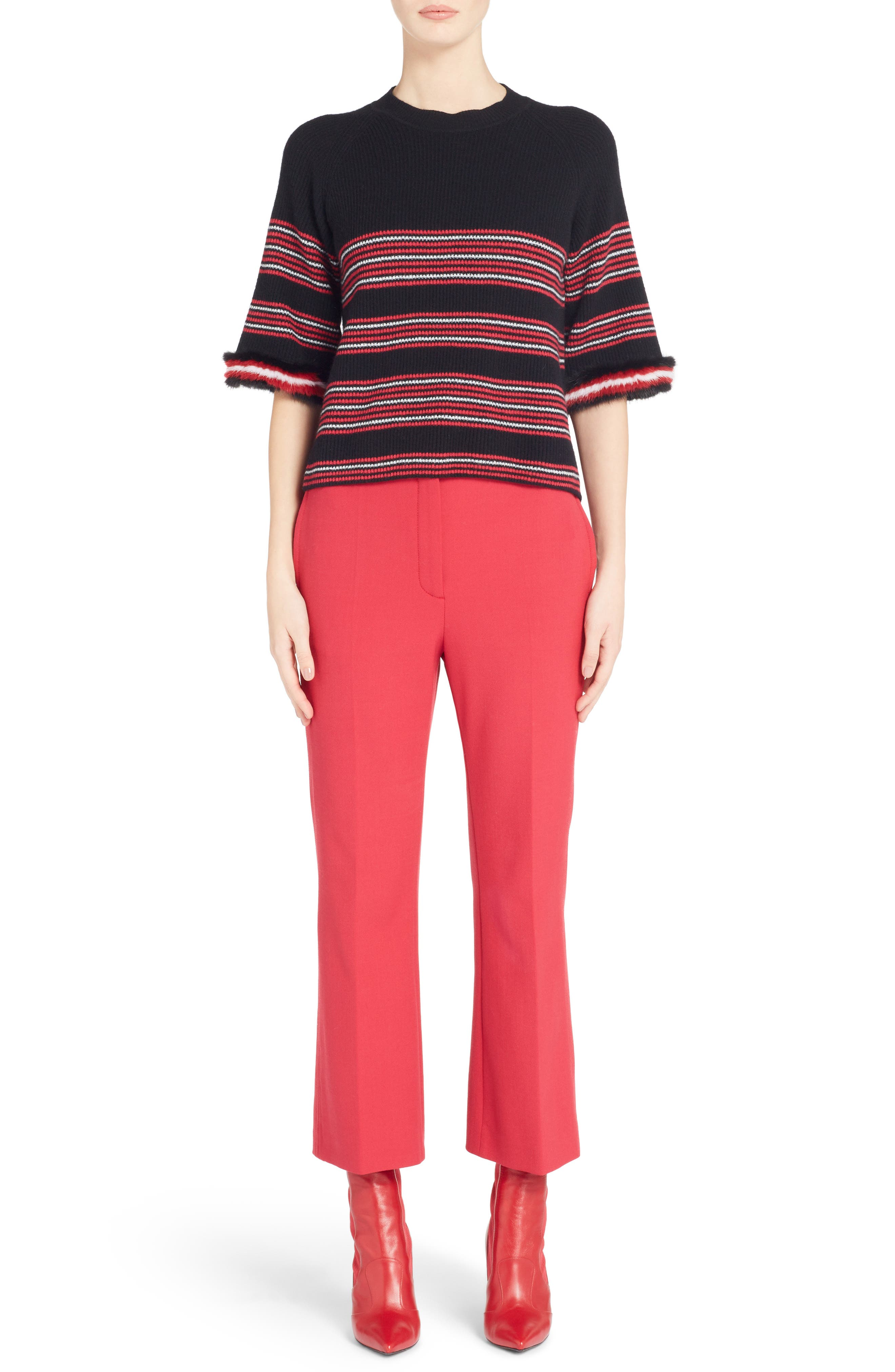 Stretch Drill Crop Flare Pants,                             Alternate thumbnail 11, color,                             Red