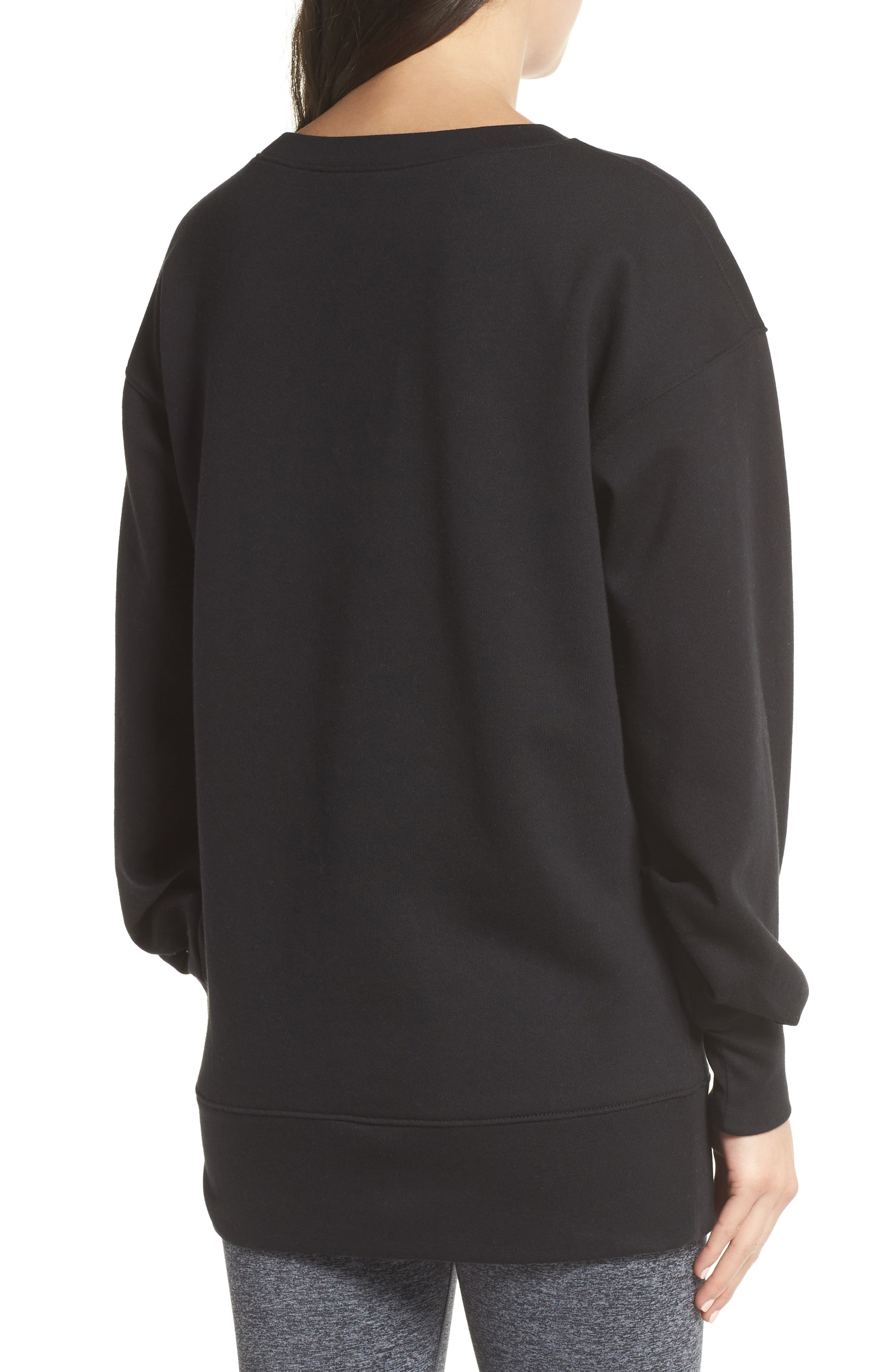 Boxy Oversize Sweatshirt,                             Alternate thumbnail 2, color,                             Black