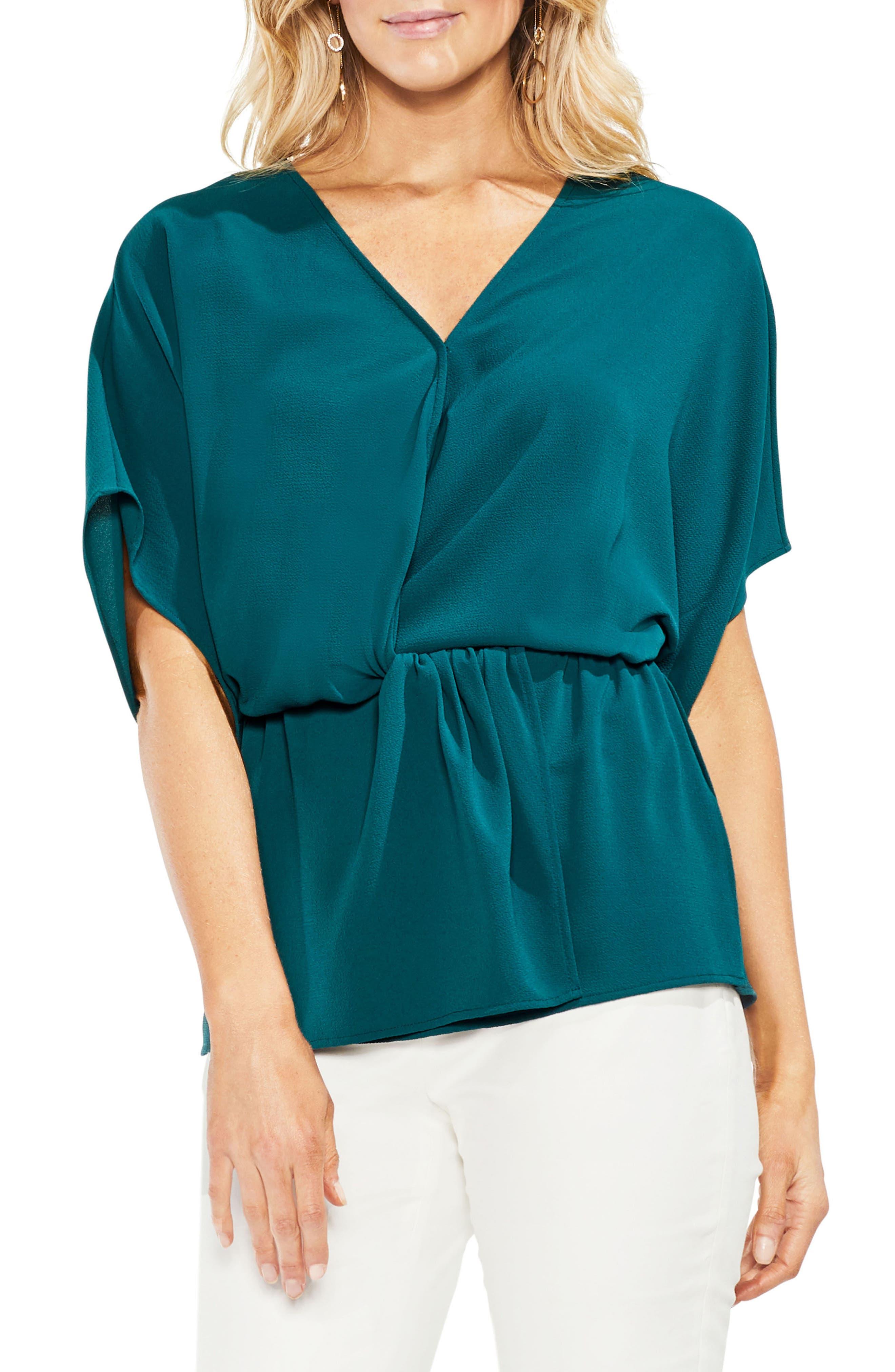 Faux Wrap Blouse,                         Main,                         color, Verdant Green