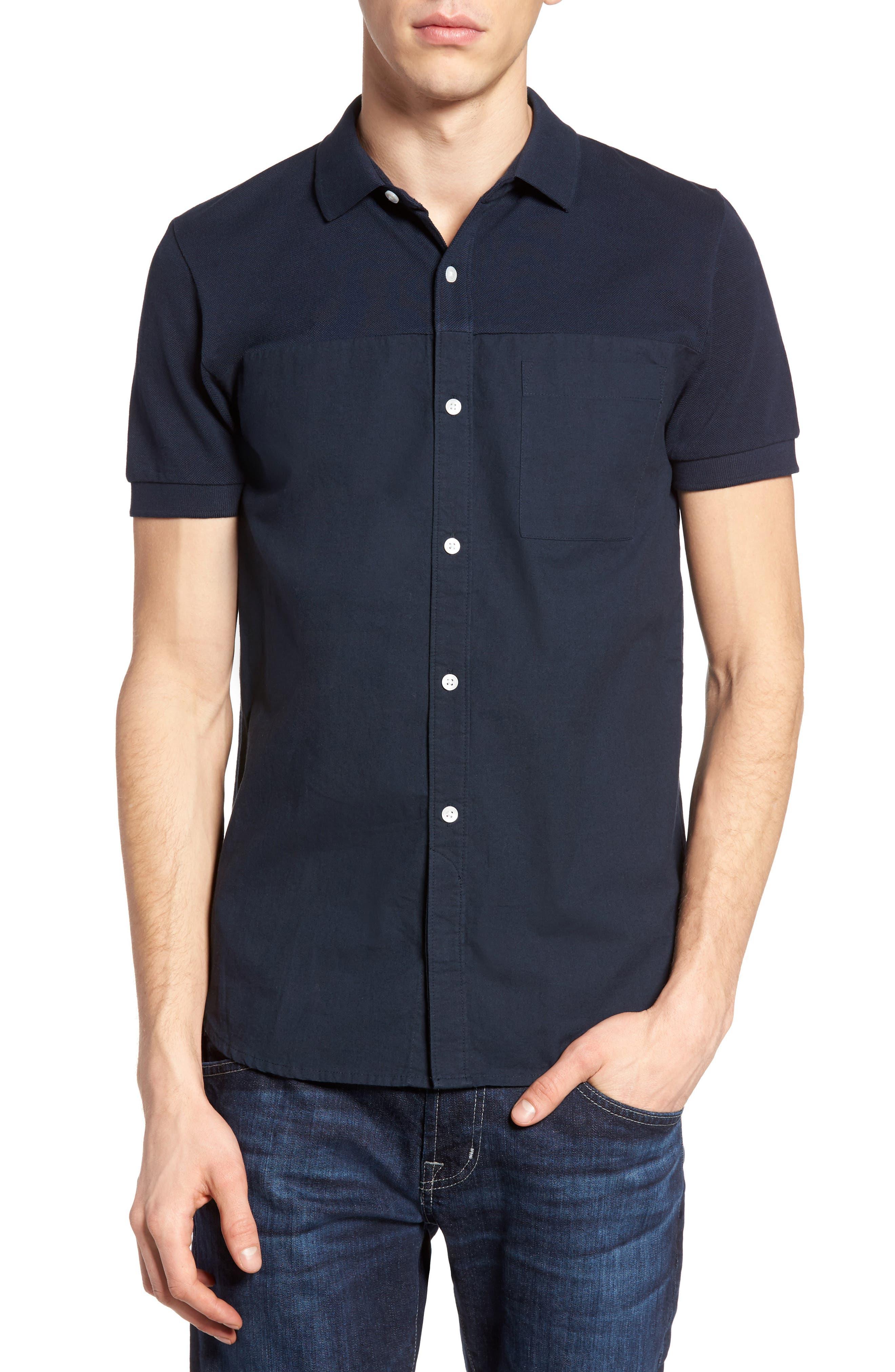 Slim Fit Short Sleeve Sport Shirt,                             Main thumbnail 1, color,                             Marine Blue