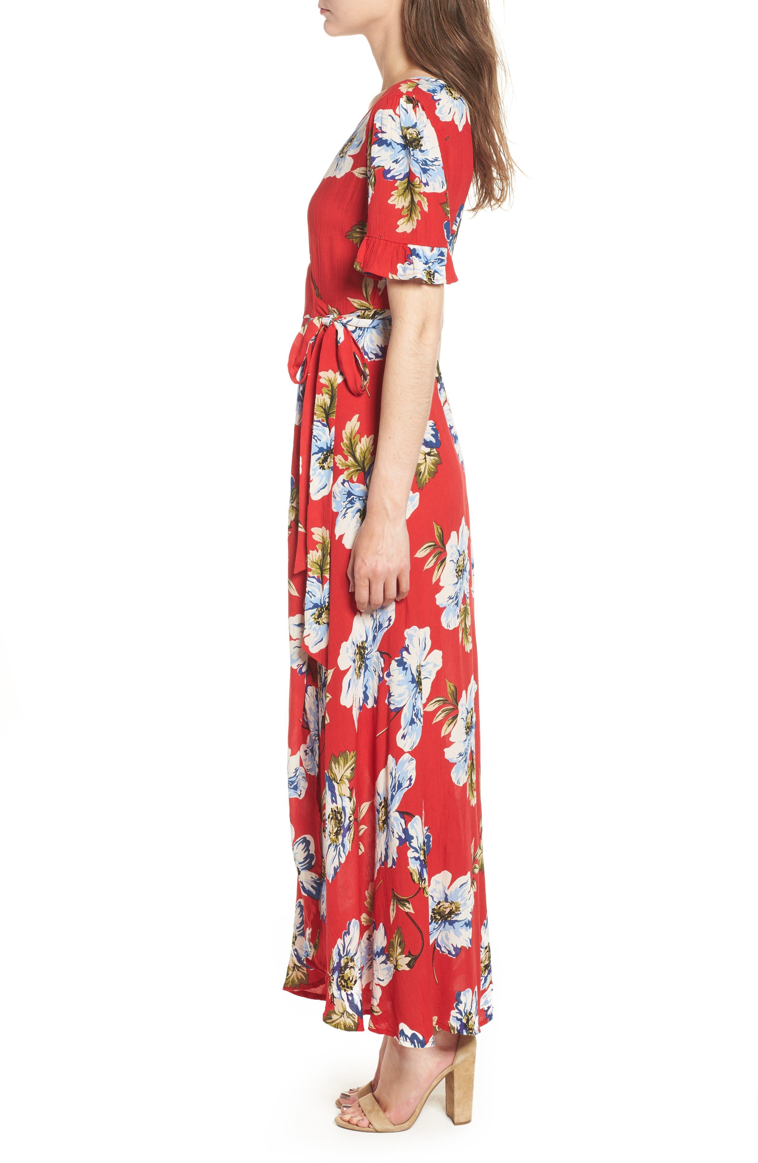 Blue Moon Floral Print Wrap Dress,                             Alternate thumbnail 3, color,                             Red/ Sky