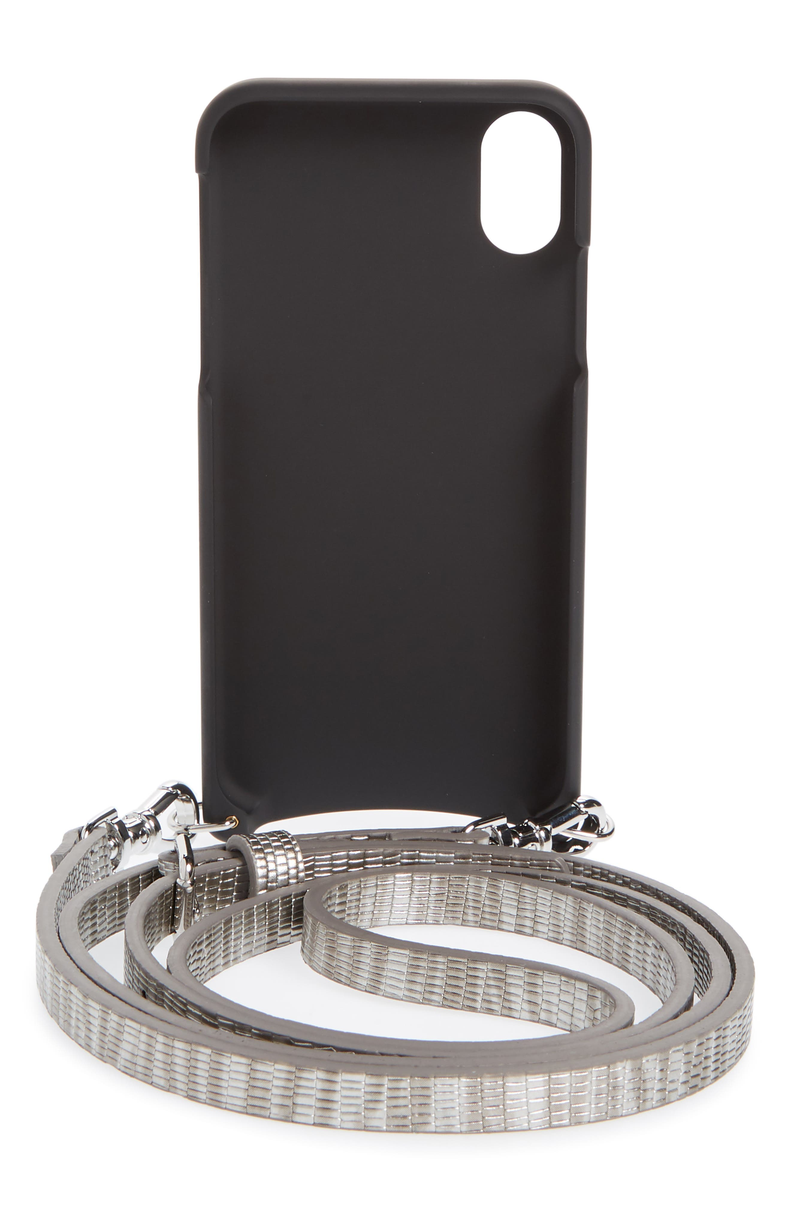 Emma iPhone X Crossbody Case,                             Alternate thumbnail 3, color,                             Silver/ Silver