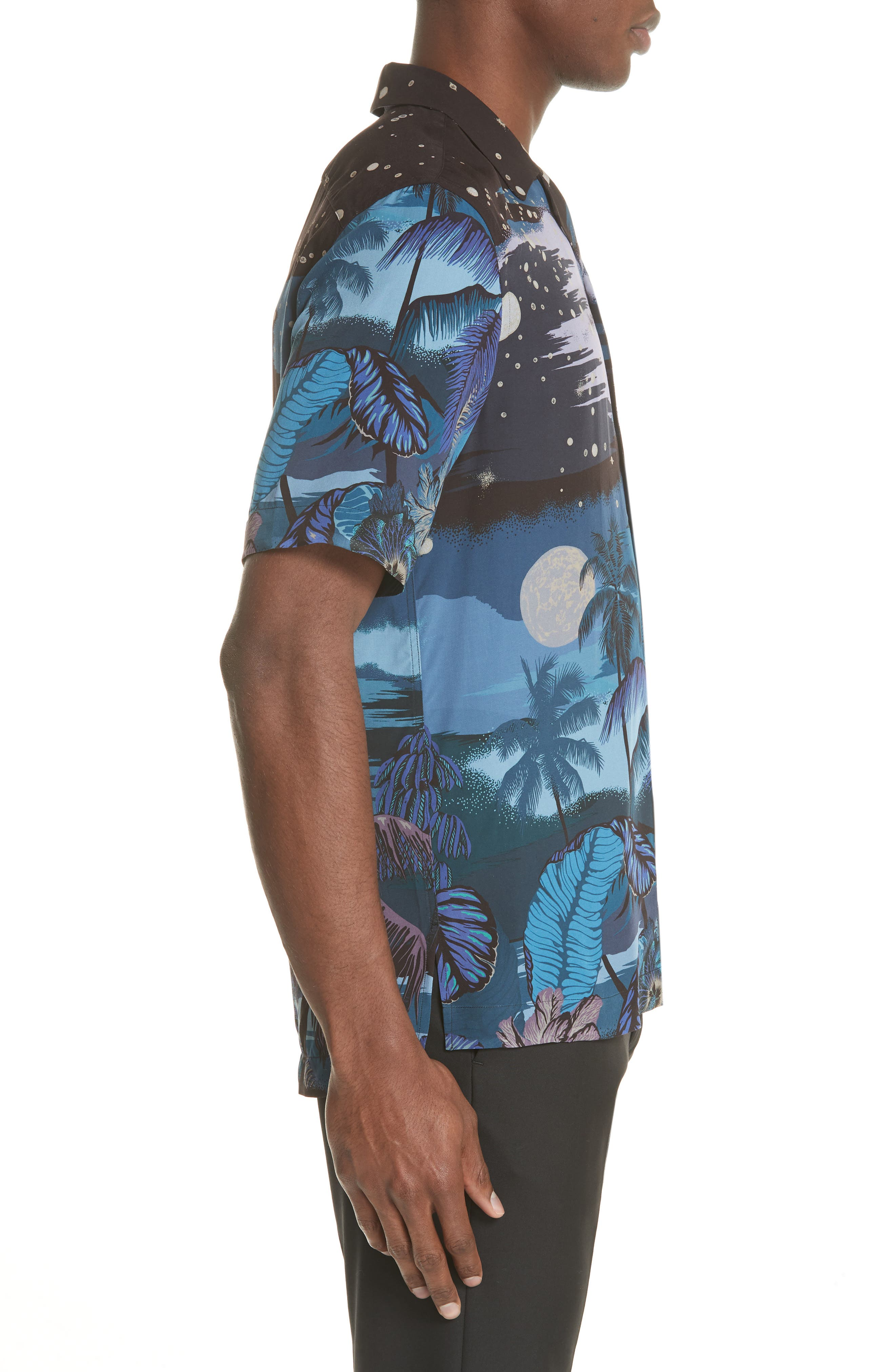 Palm Tree Print Shirt,                             Alternate thumbnail 4, color,                             47 Midnight