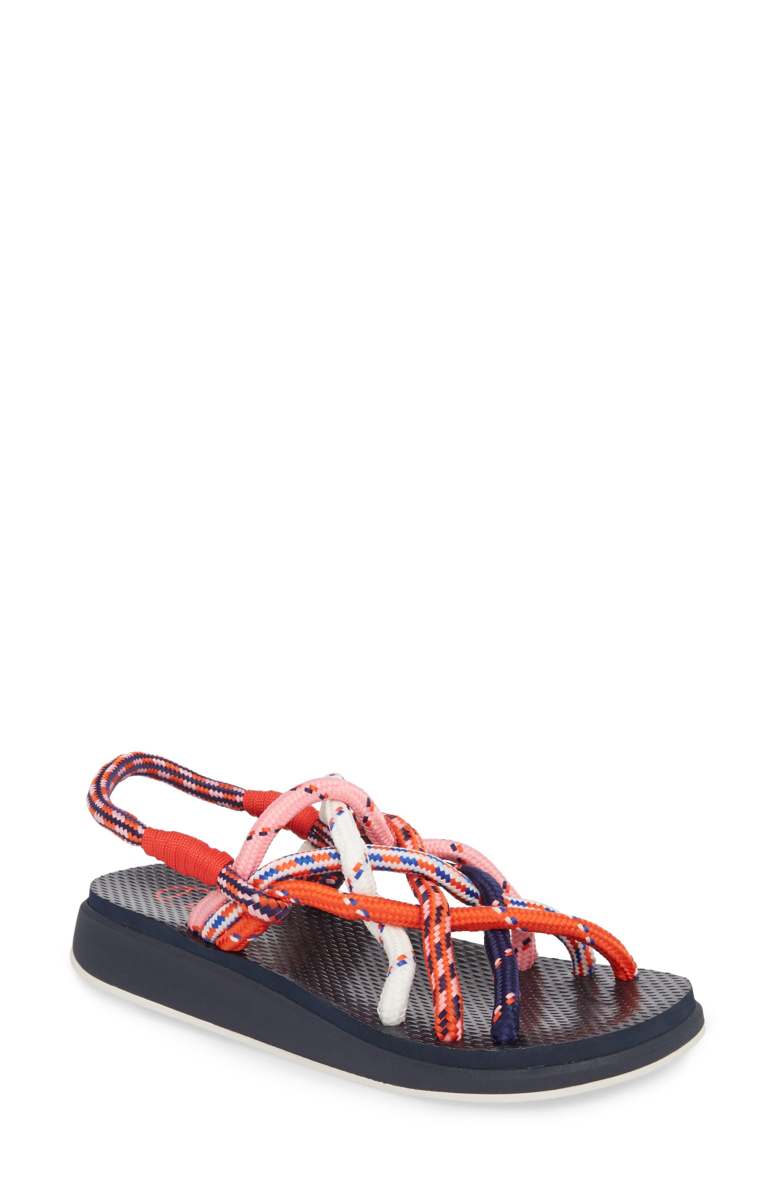 Rope Sandal,                             Main thumbnail 1, color,                             Red Multi