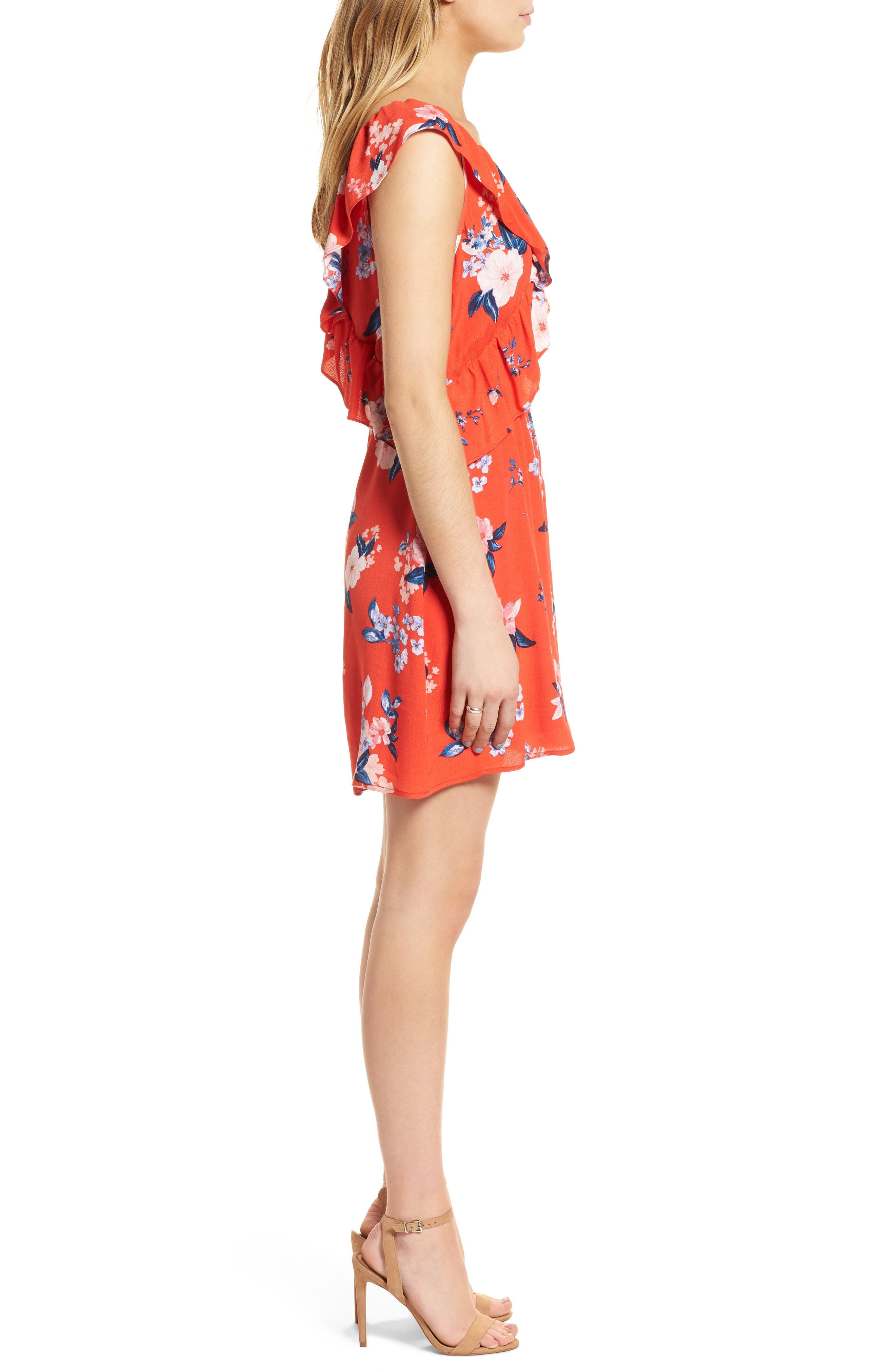 Cordetta Floral Asymmetrical Ruffle Dress,                             Alternate thumbnail 3, color,                             Poppy Red