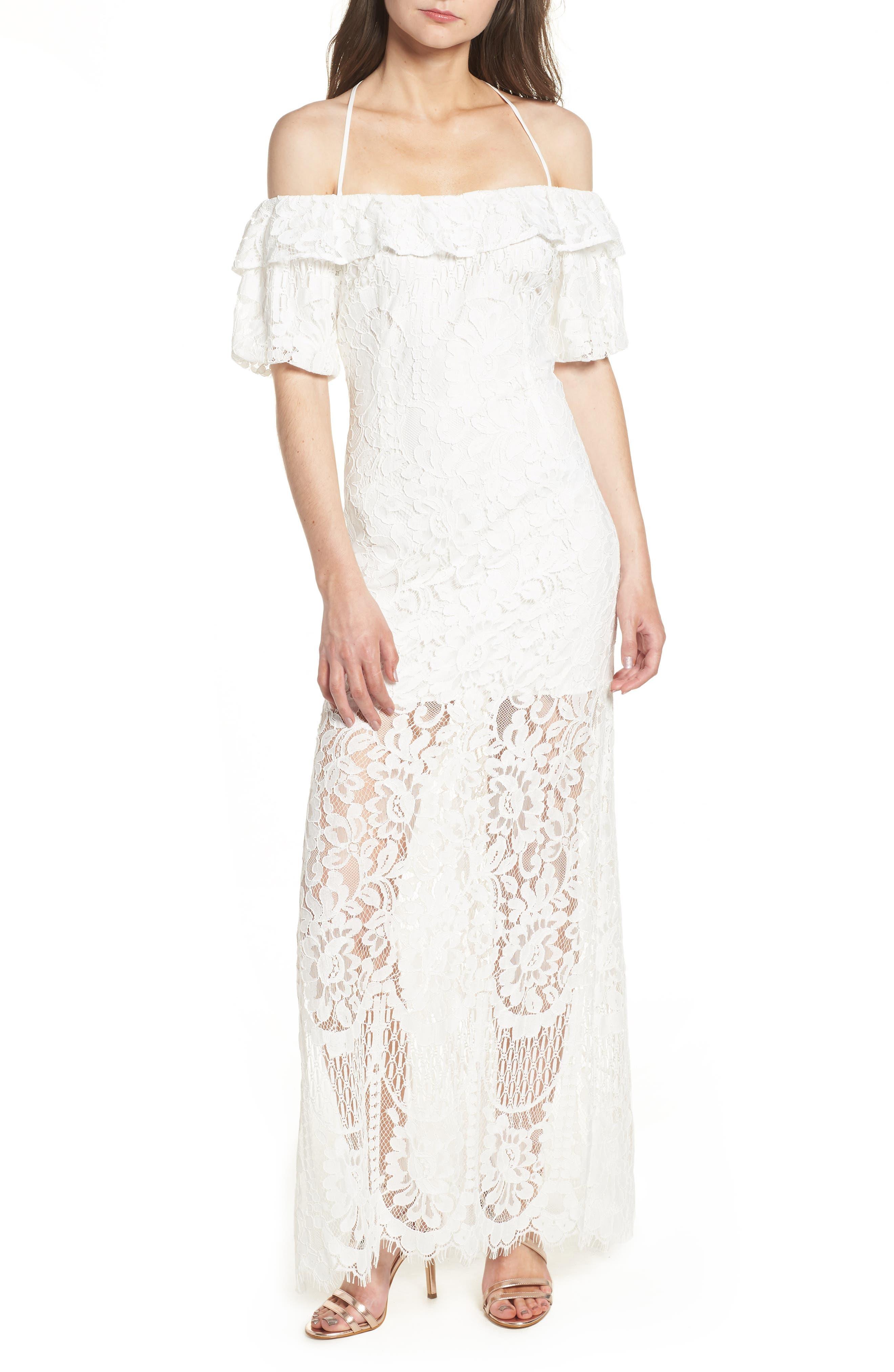 Tasha Off the Shoulder Halter Maxi Dress,                             Main thumbnail 1, color,                             Ivory