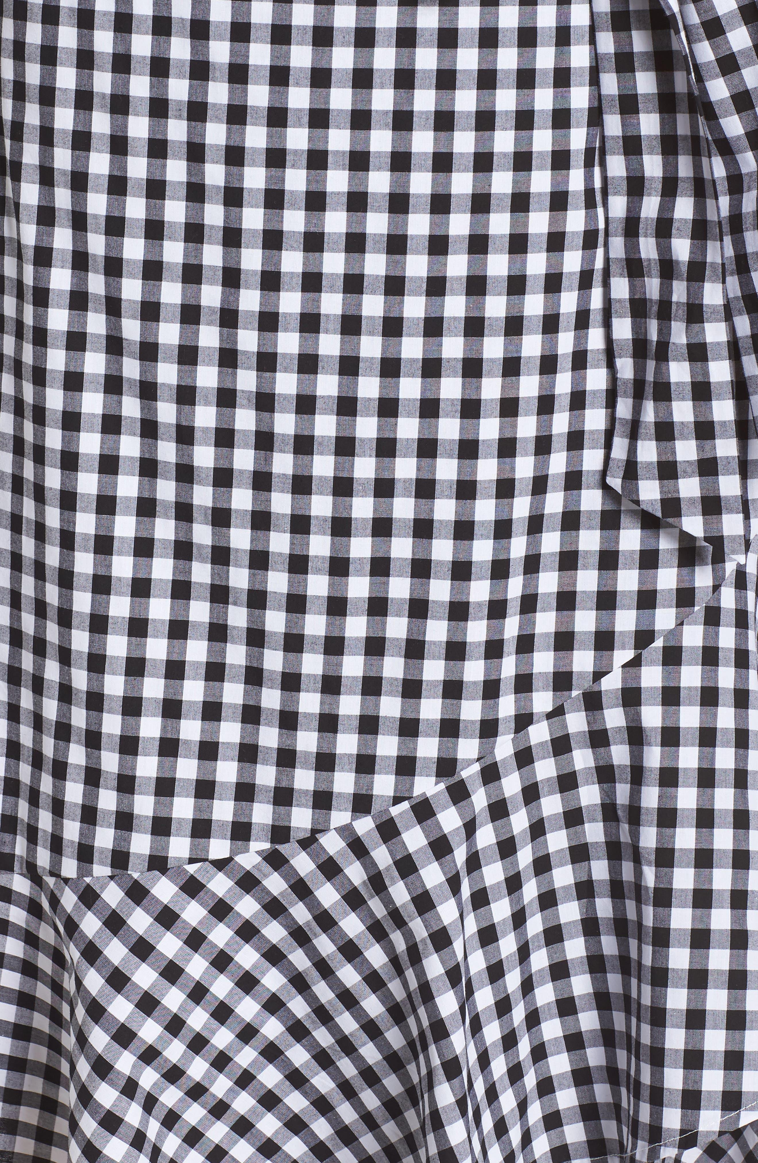 Belted Ruffle Hem Gingham Dress,                             Alternate thumbnail 6, color,                             Black/ White